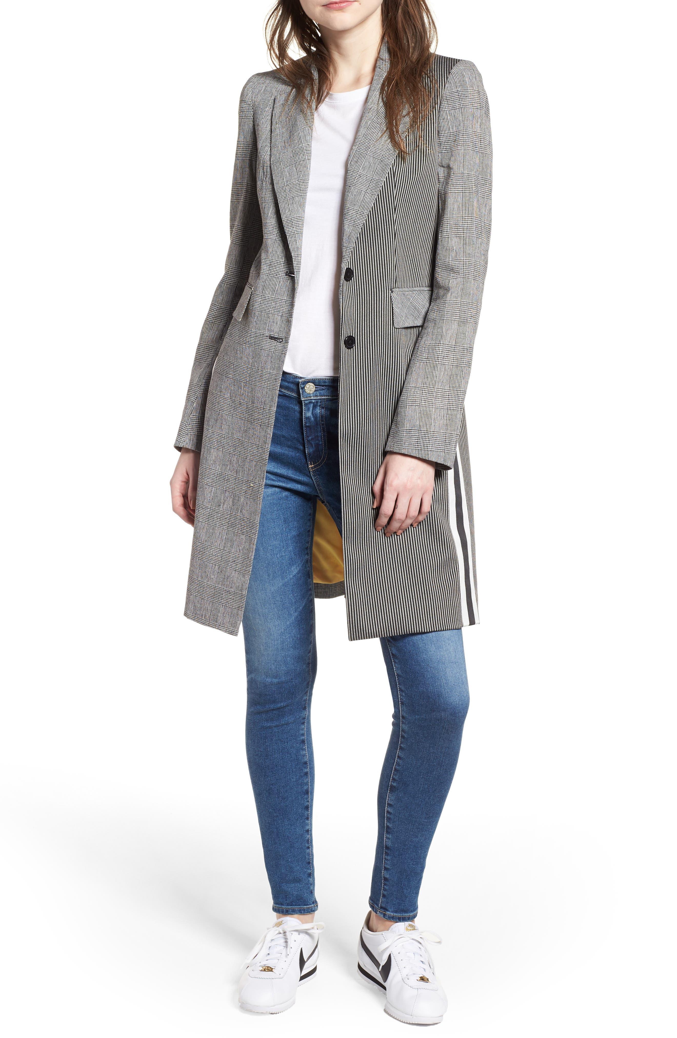 Fran Long Jacket,                         Main,                         color, Black/ White