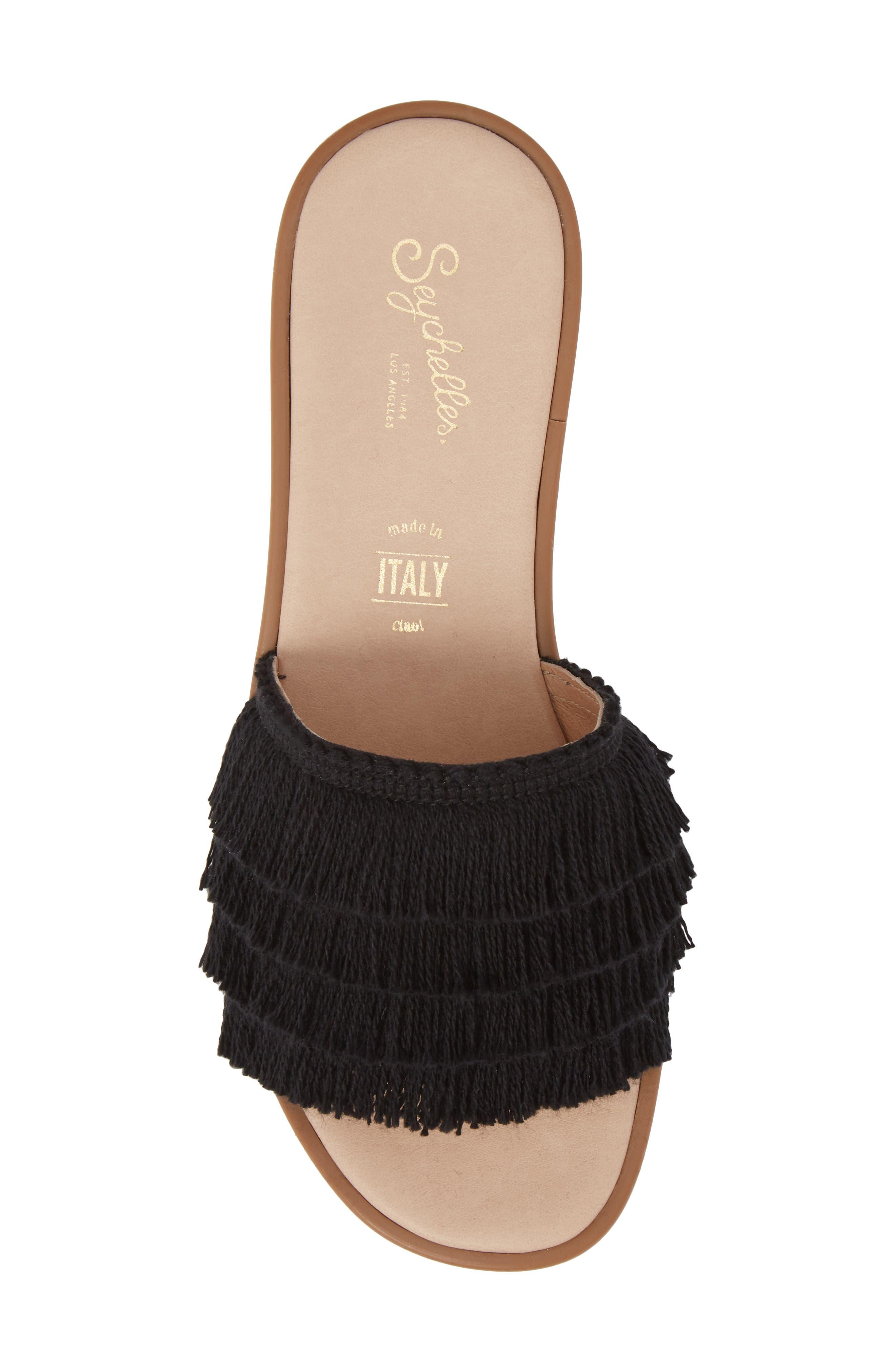 Well Rested Ruffle Slide Sandal,                             Alternate thumbnail 5, color,                             Black Fabric