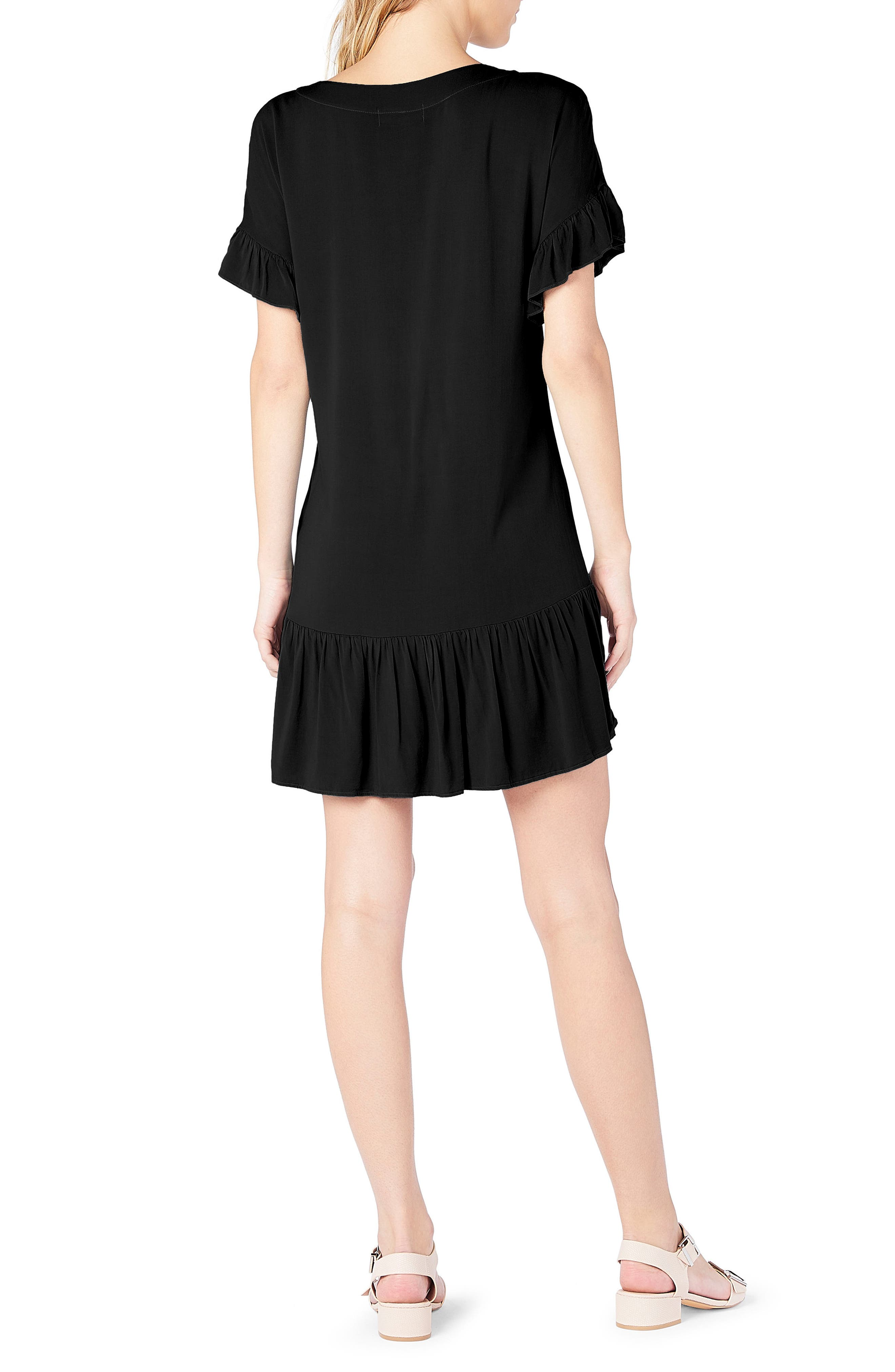Ruffled Lace-Up Dresss,                             Alternate thumbnail 2, color,                             Black