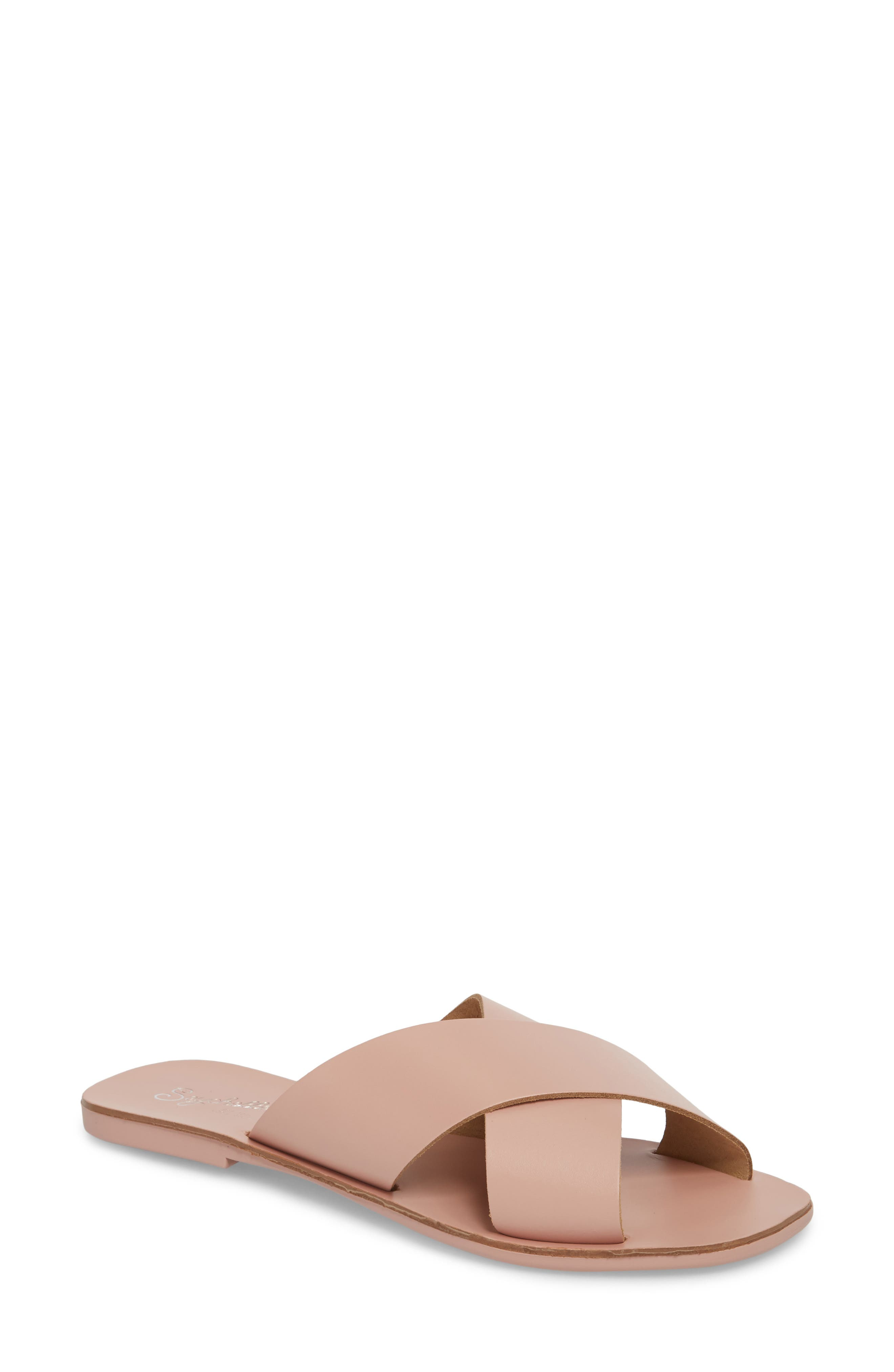 Total Relaxation Slide Sandal,                             Main thumbnail 1, color,                             Pink Leather