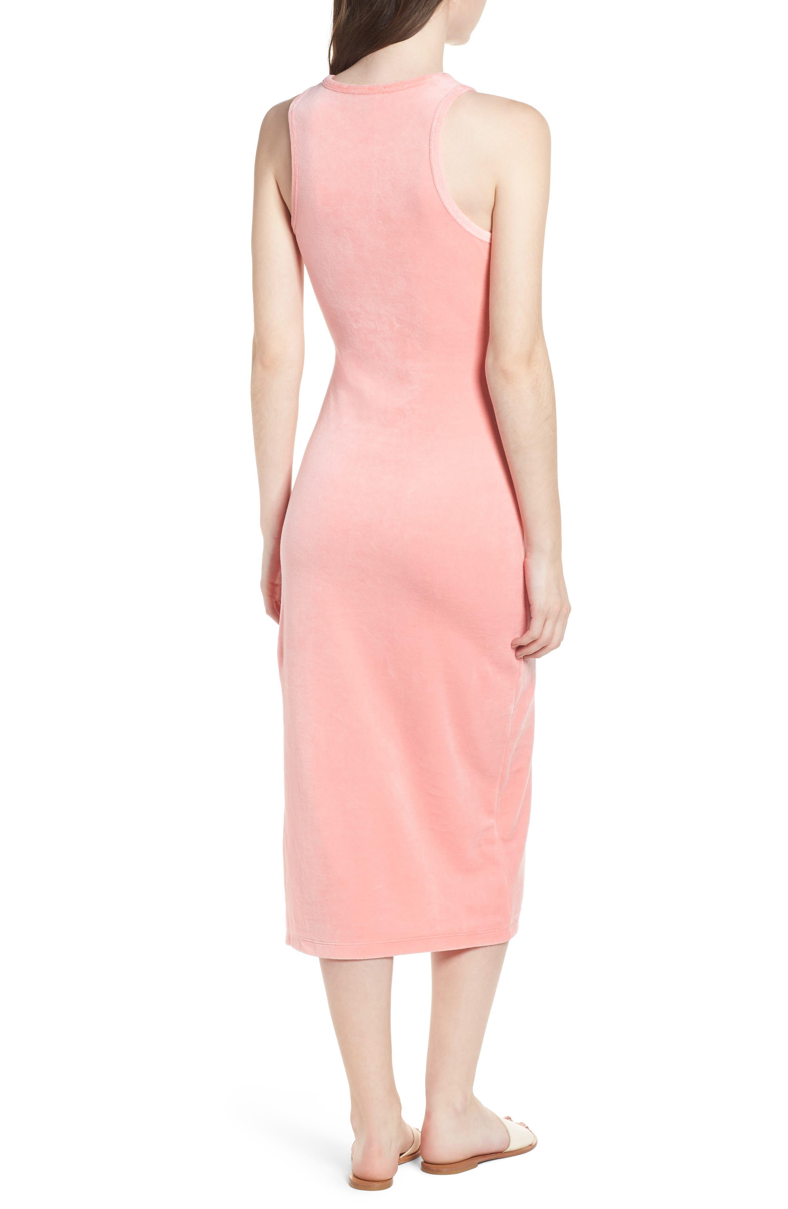 Stretch Velour Tank Midi Dress,                             Alternate thumbnail 2, color,                             Sorbet Pink