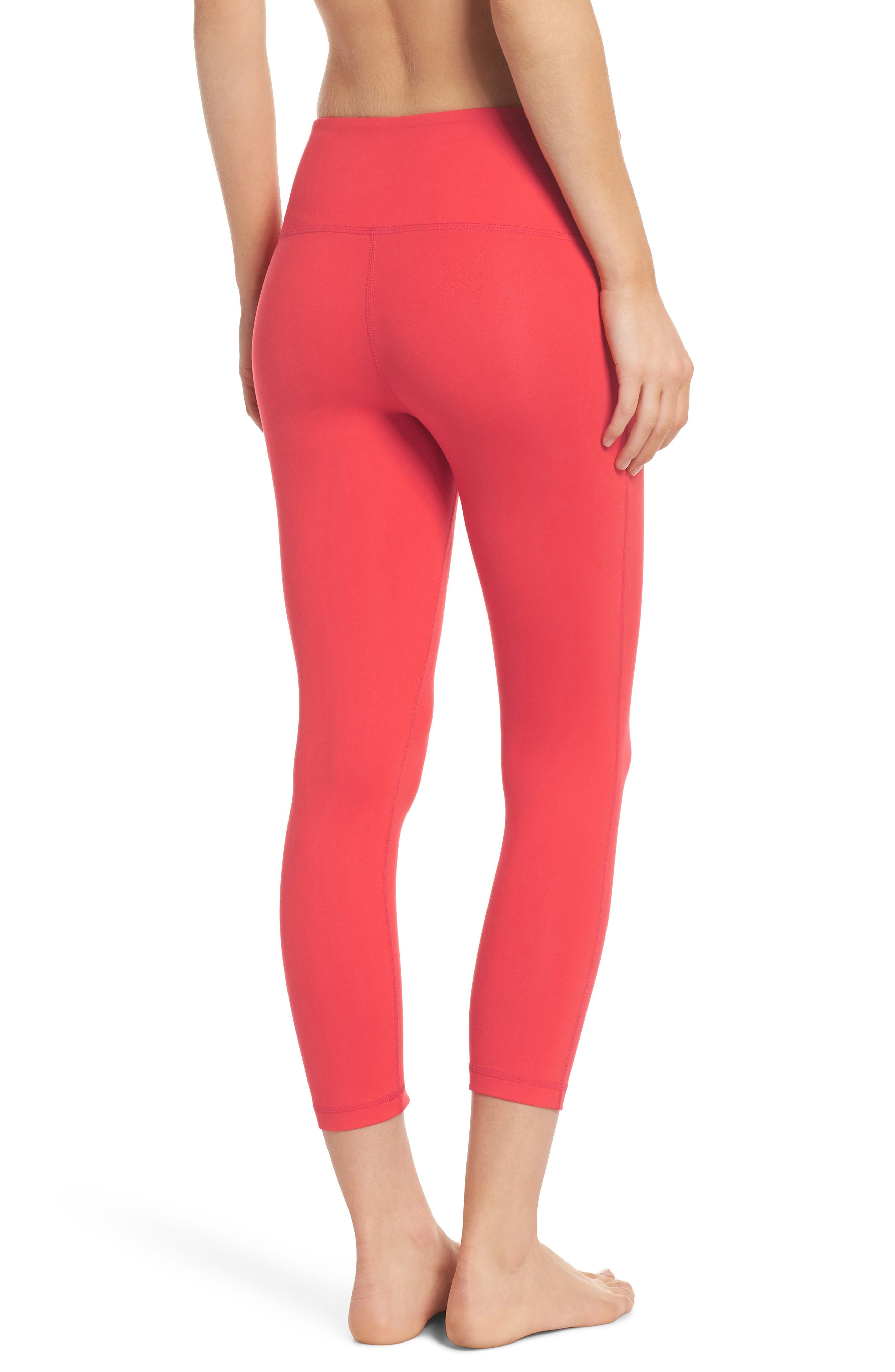 Live In Lite Crop Leggings,                             Alternate thumbnail 2, color,                             Red Hibiscus