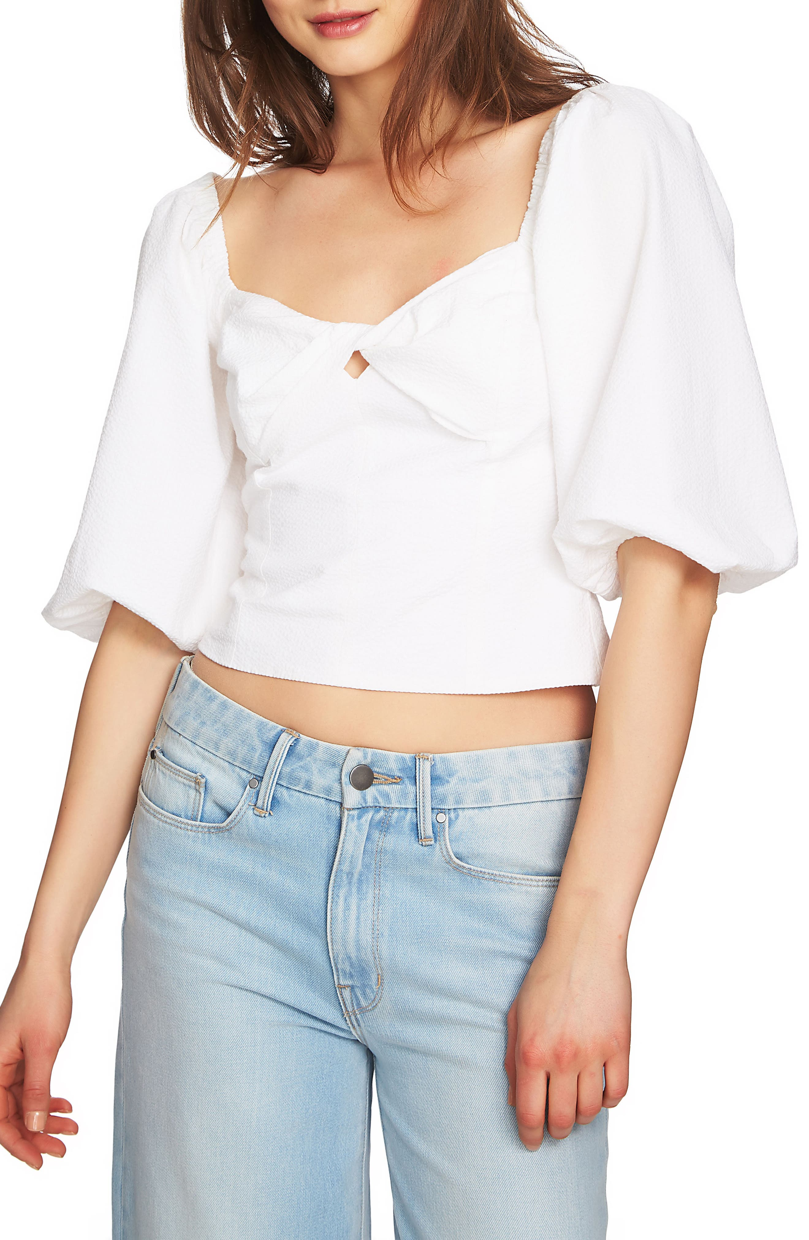 Puff Sleeve Crop Top,                         Main,                         color, Ultra White