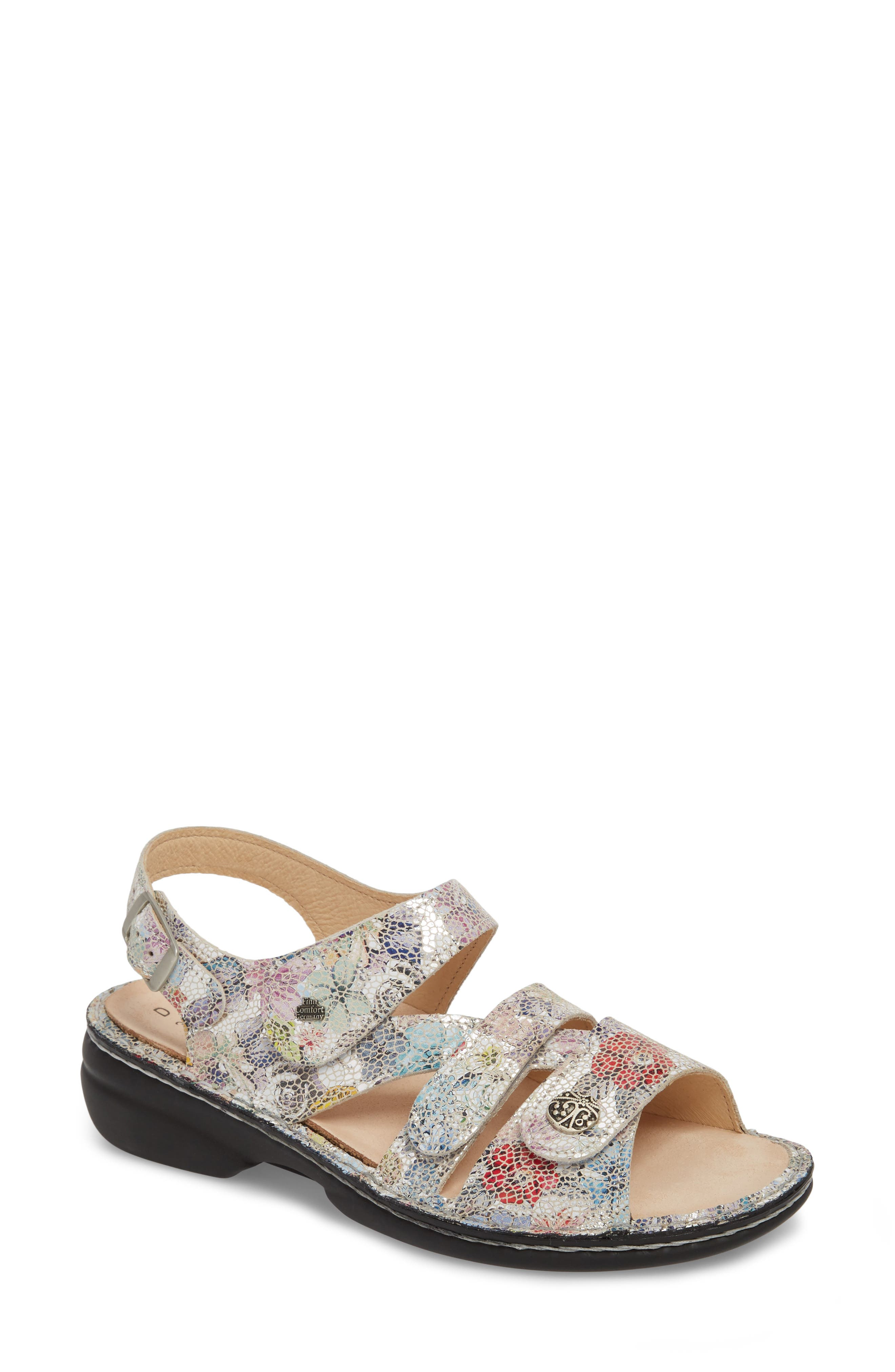 'Gomera' Sandal,                             Main thumbnail 1, color,                             Multi Flower Printed Leather