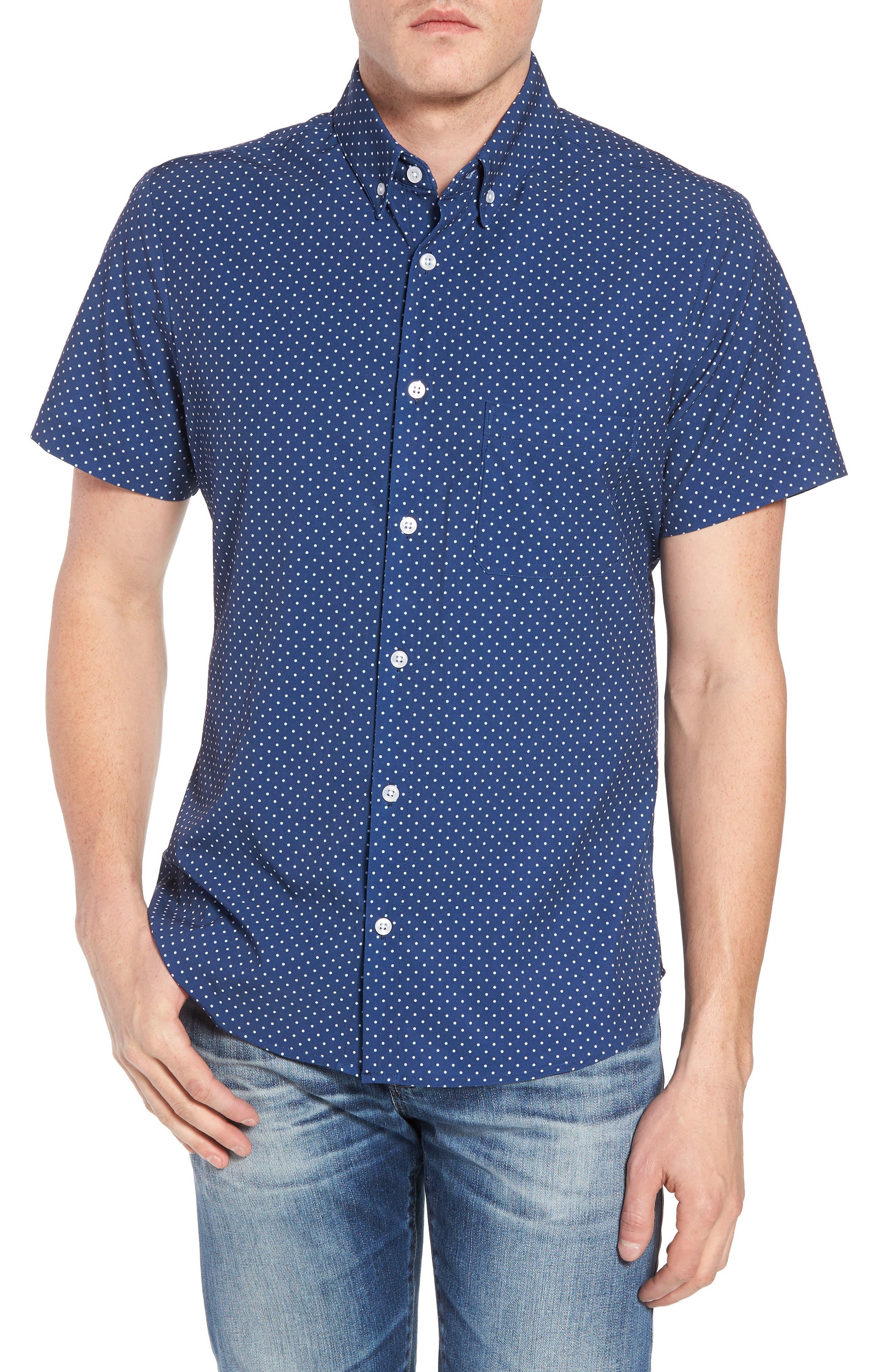 Crosby Slim Fit Dot Performance Sport Shirt,                             Main thumbnail 1, color,                             Navy