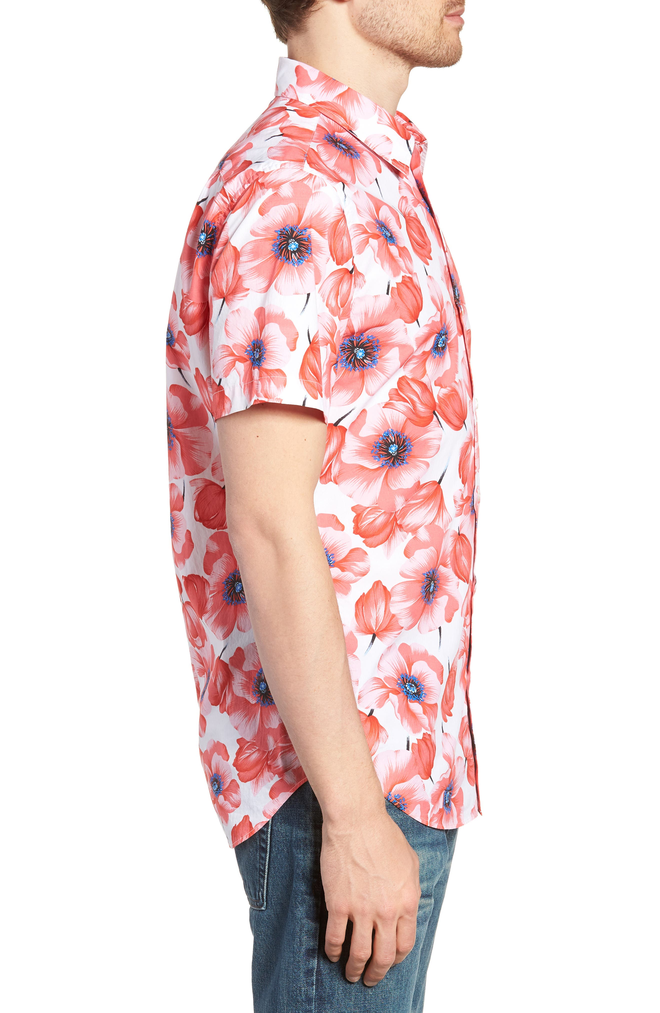 Premium Slim Fit Print Short Sleeve Sport Shirt,                             Alternate thumbnail 3, color,                             Tango Floral - Orange County