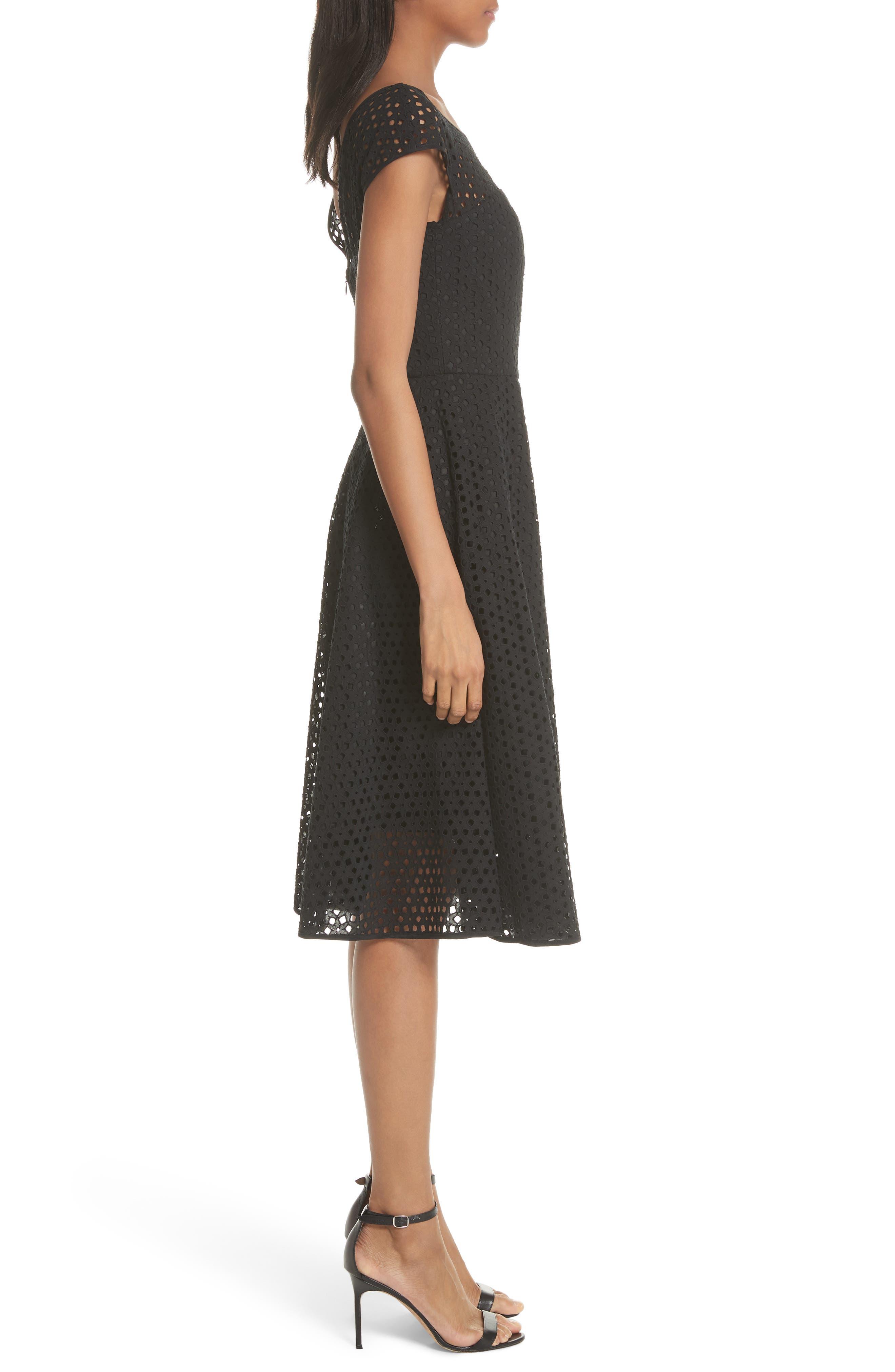 Cathy Cotton Eyelet Dress,                             Alternate thumbnail 3, color,                             Black