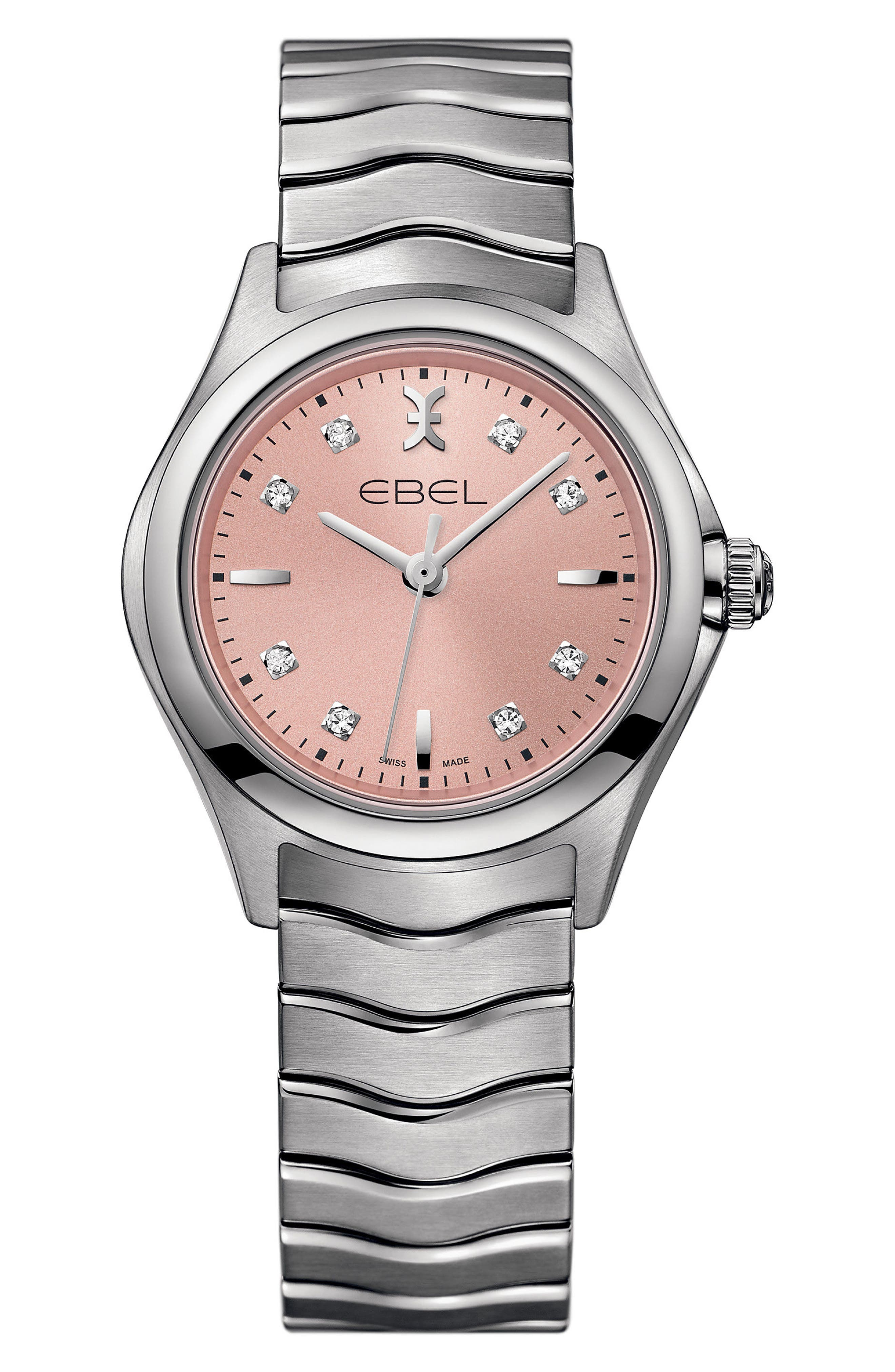 Wave Bracelet Watch, 30mm,                             Main thumbnail 1, color,                             Silver/ Pink/ Silver