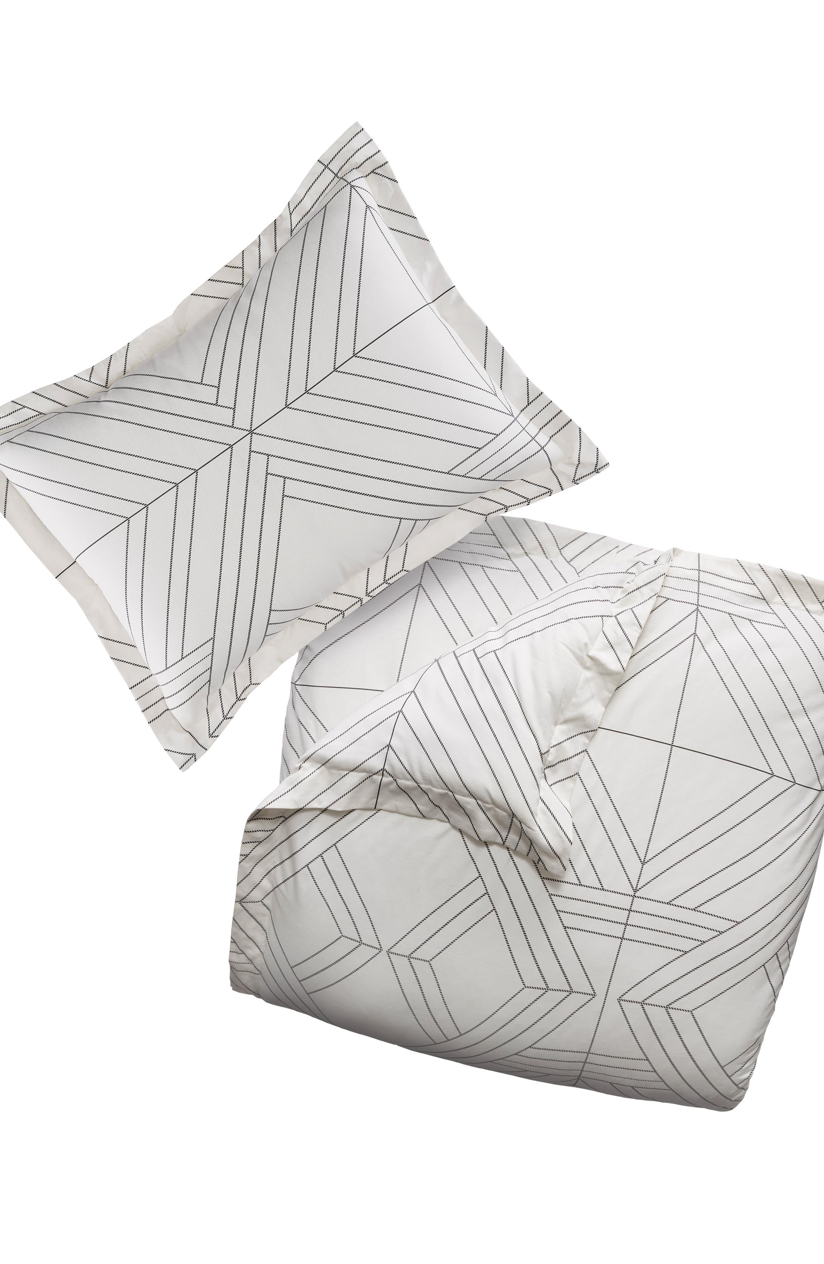 Deco Diamonds Duvet Cover & Sham Set,                             Main thumbnail 1, color,                             Natural