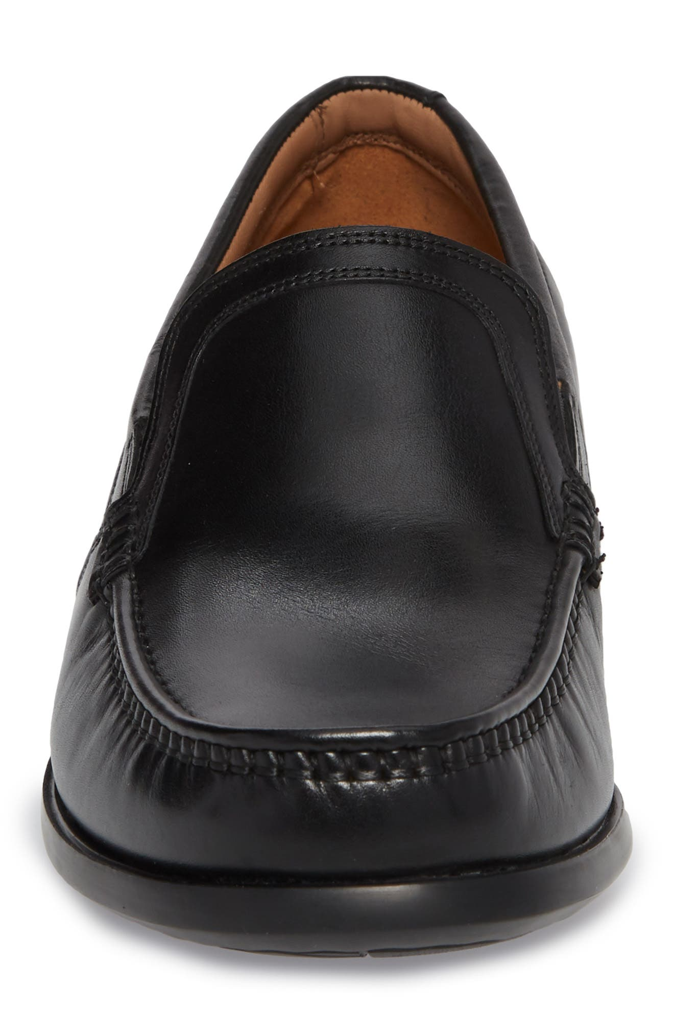 Clarks<sup>®</sup> Ungala Free Venetian Loafer,                             Alternate thumbnail 4, color,                             Black Leather