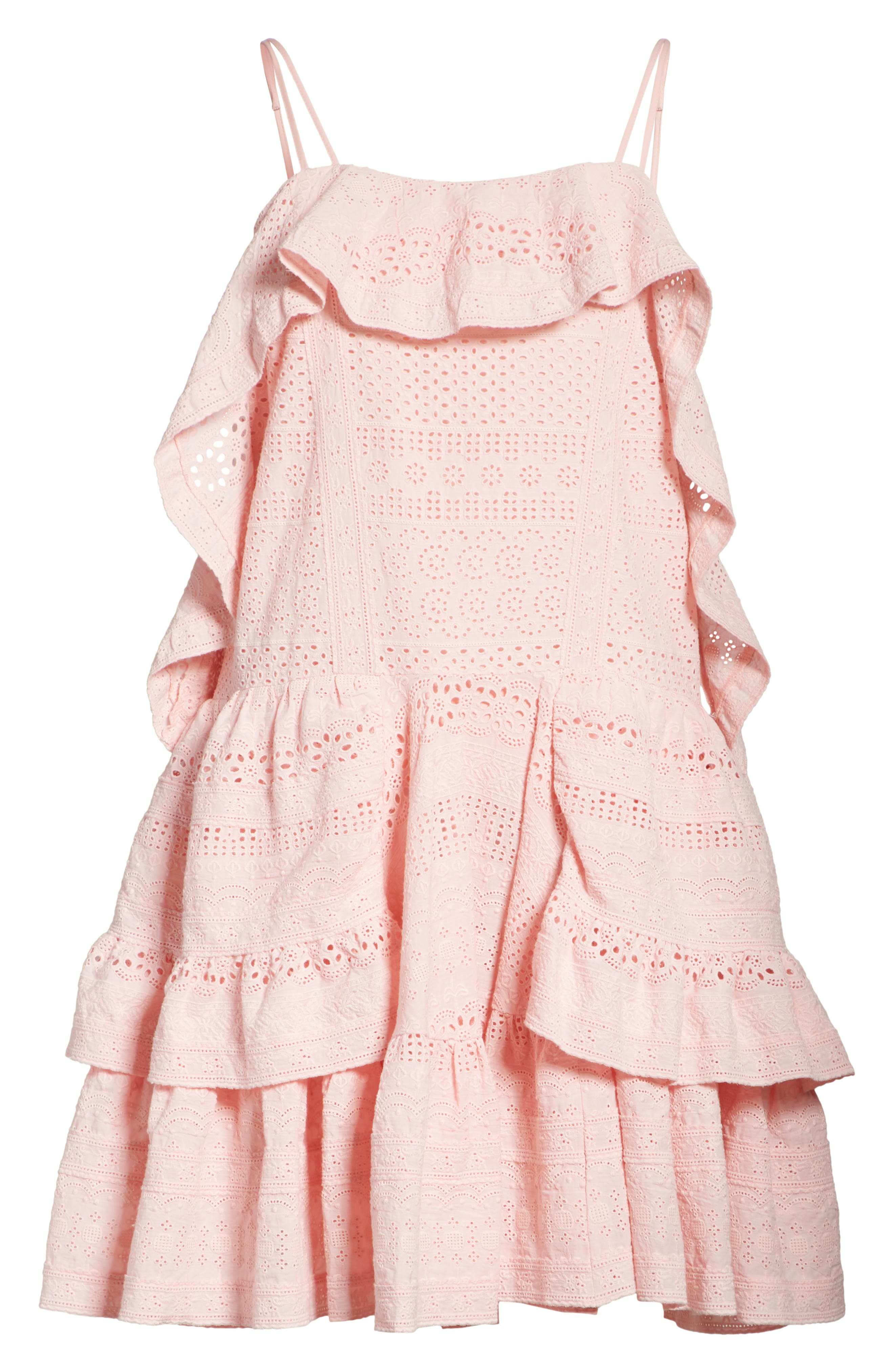 Deconstructed Broderie Dress,                             Alternate thumbnail 6, color,                             Pink