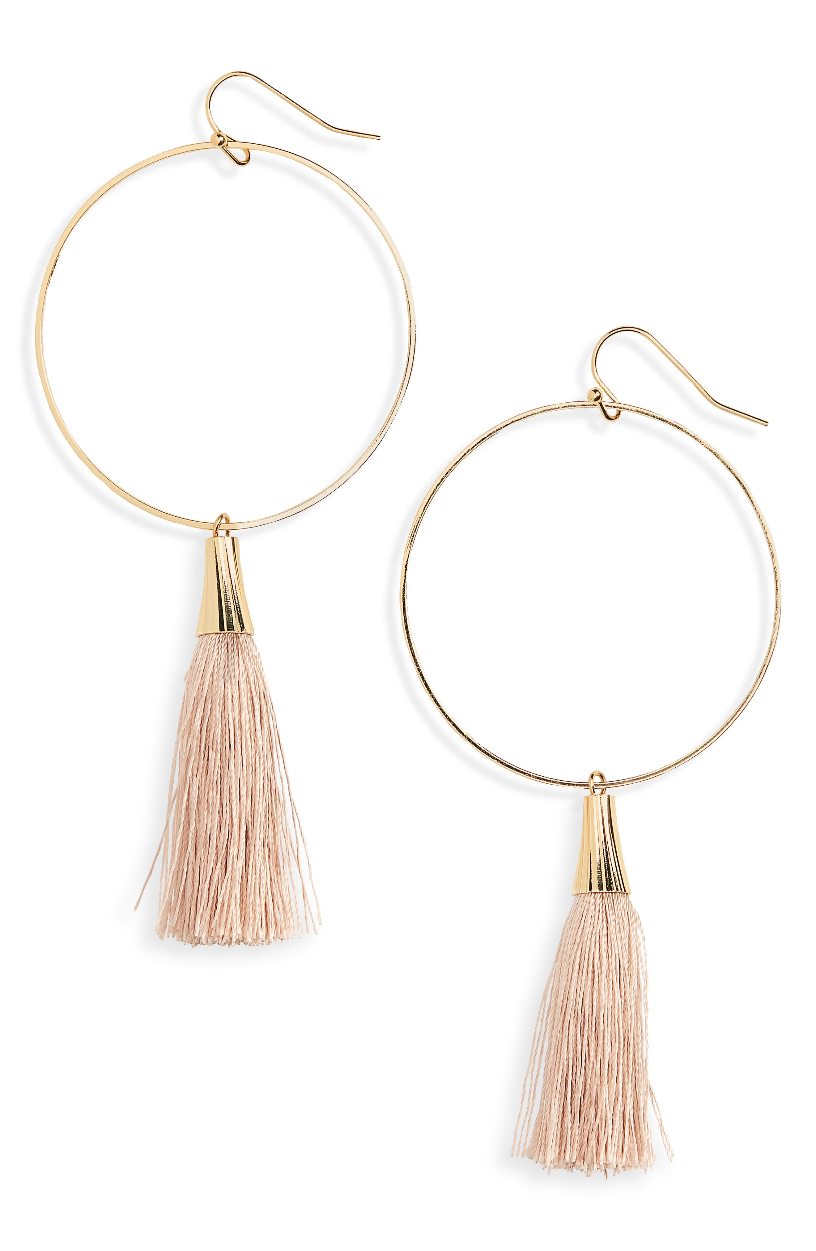 Tassel Hoop Earrings,                         Main,                         color, Beige