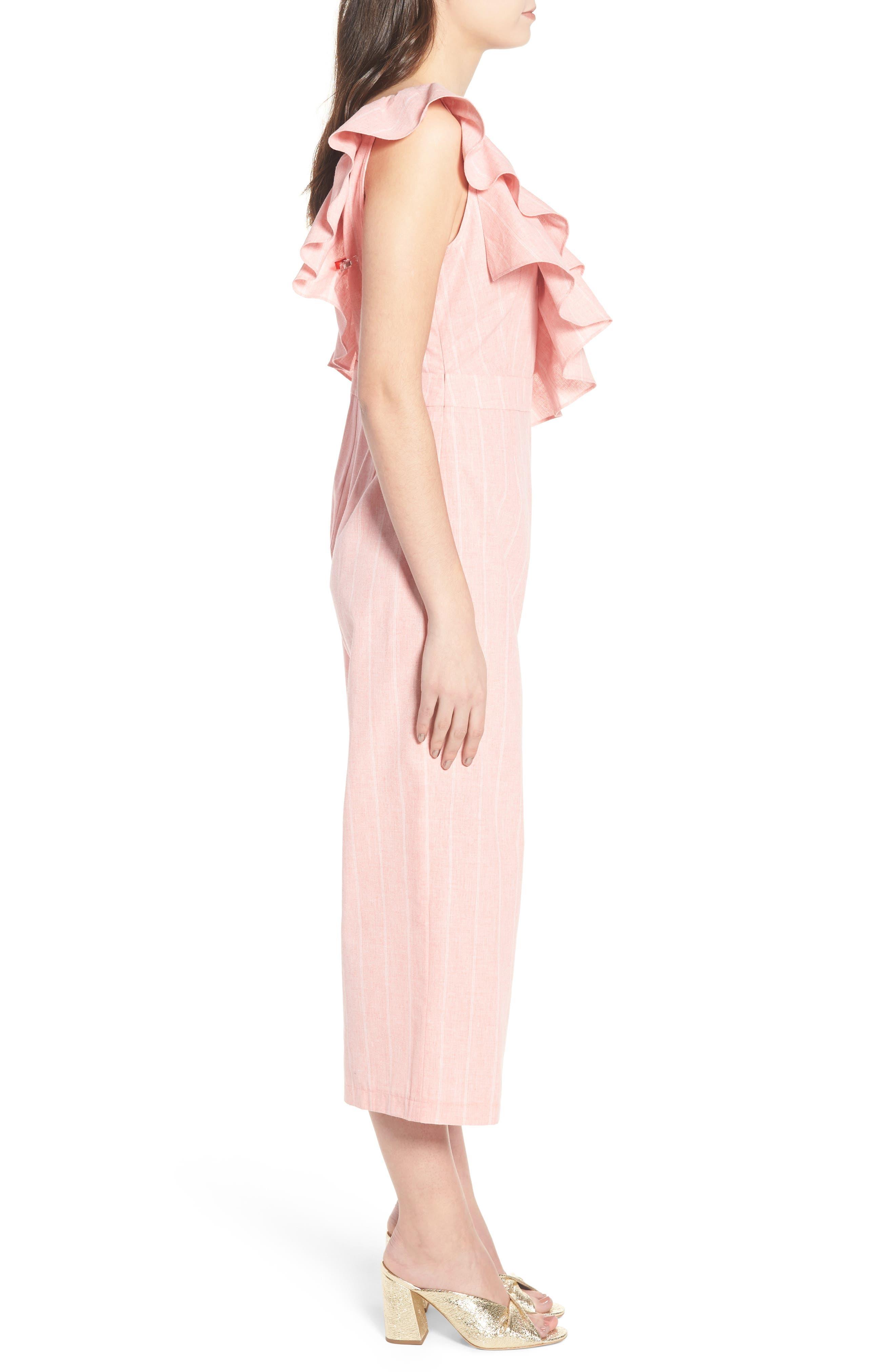 Frill Shoulder Stripe Jumpsuit,                             Alternate thumbnail 4, color,                             Pink