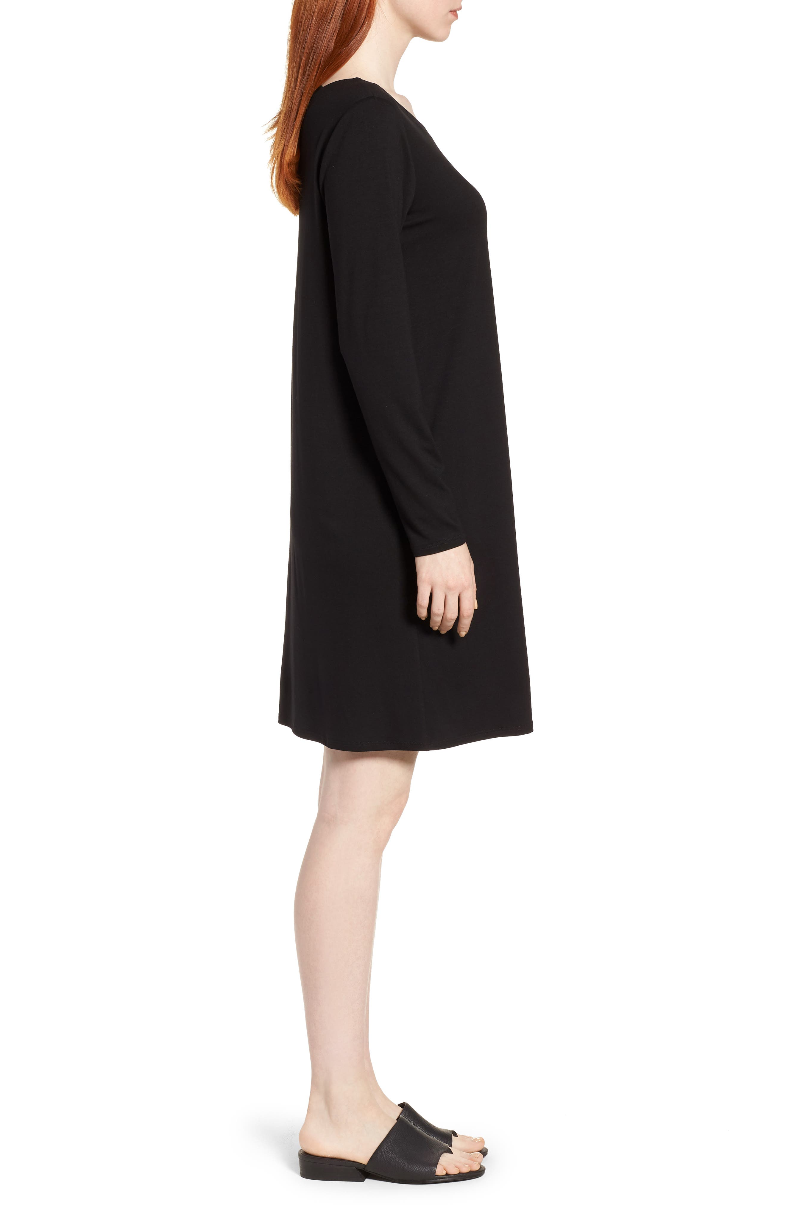 V-Back Stretch Tencel<sup>®</sup> Lyocell Shift Dress,                             Alternate thumbnail 3, color,                             Black