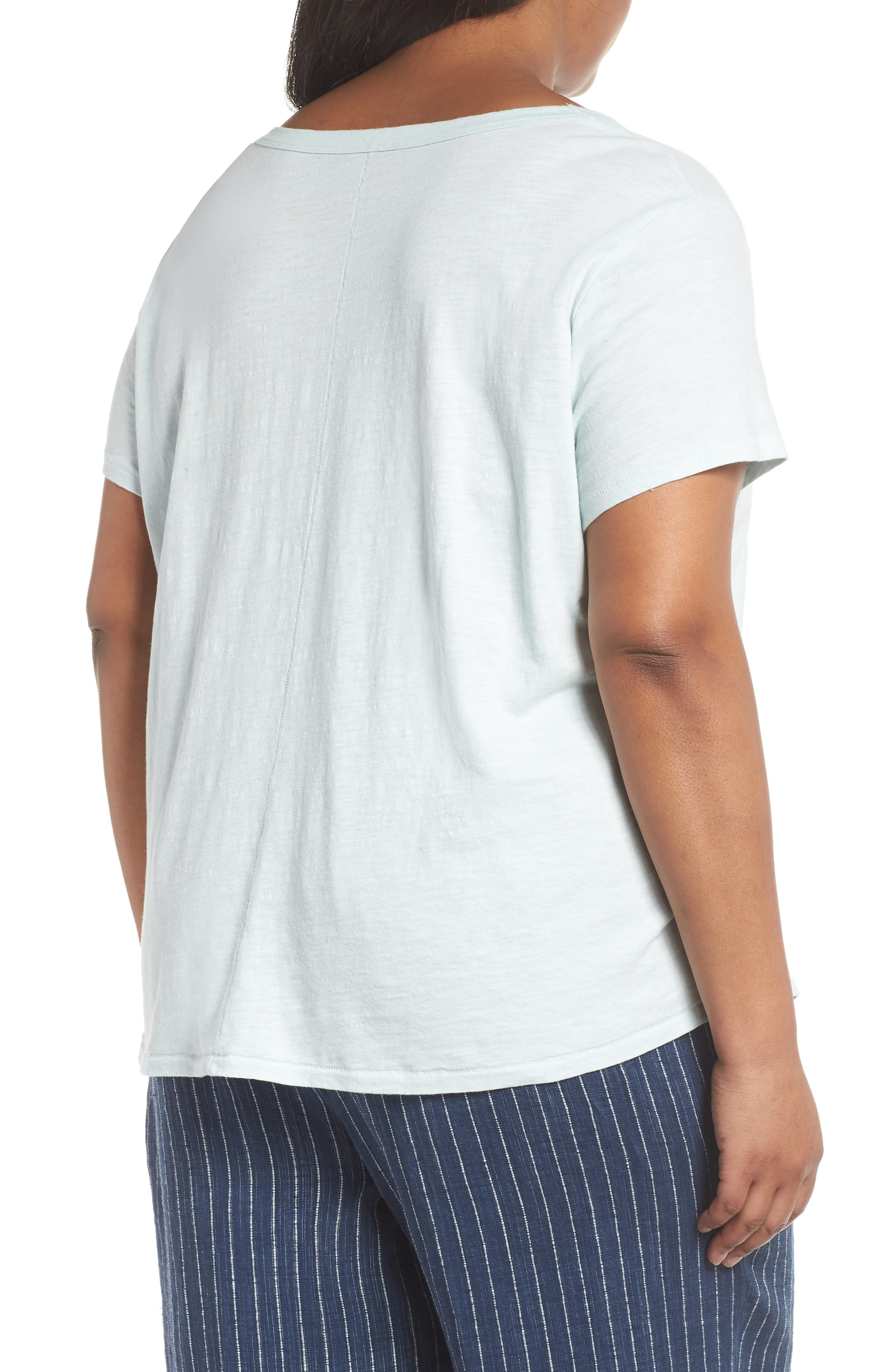 Alternate Image 2  - Eileen Fisher V-Neck Organic Cotton Tee (Plus Size)