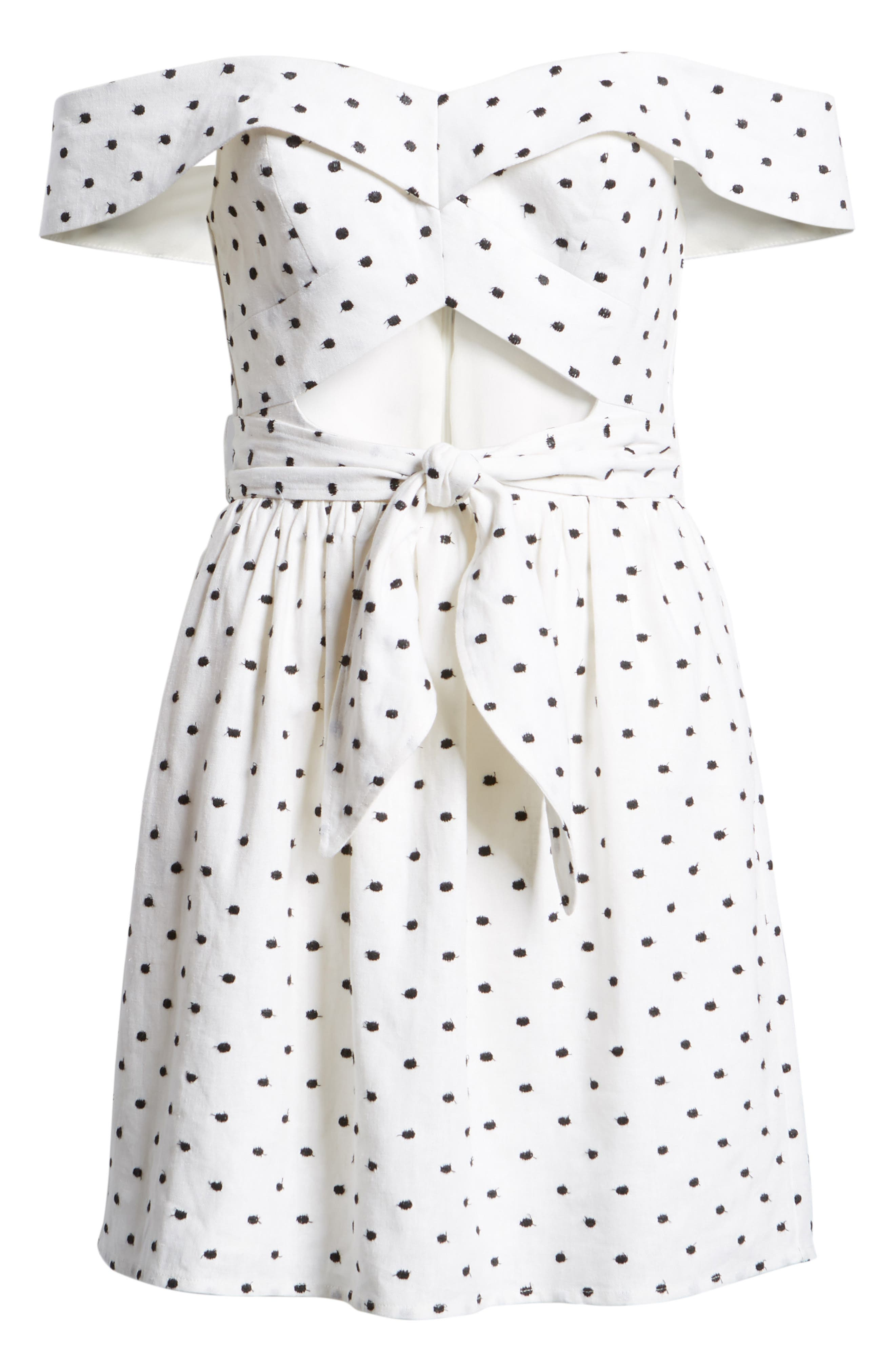 Capri Knot Cutout Minidress,                             Alternate thumbnail 8, color,                             Ivory Polka Dot