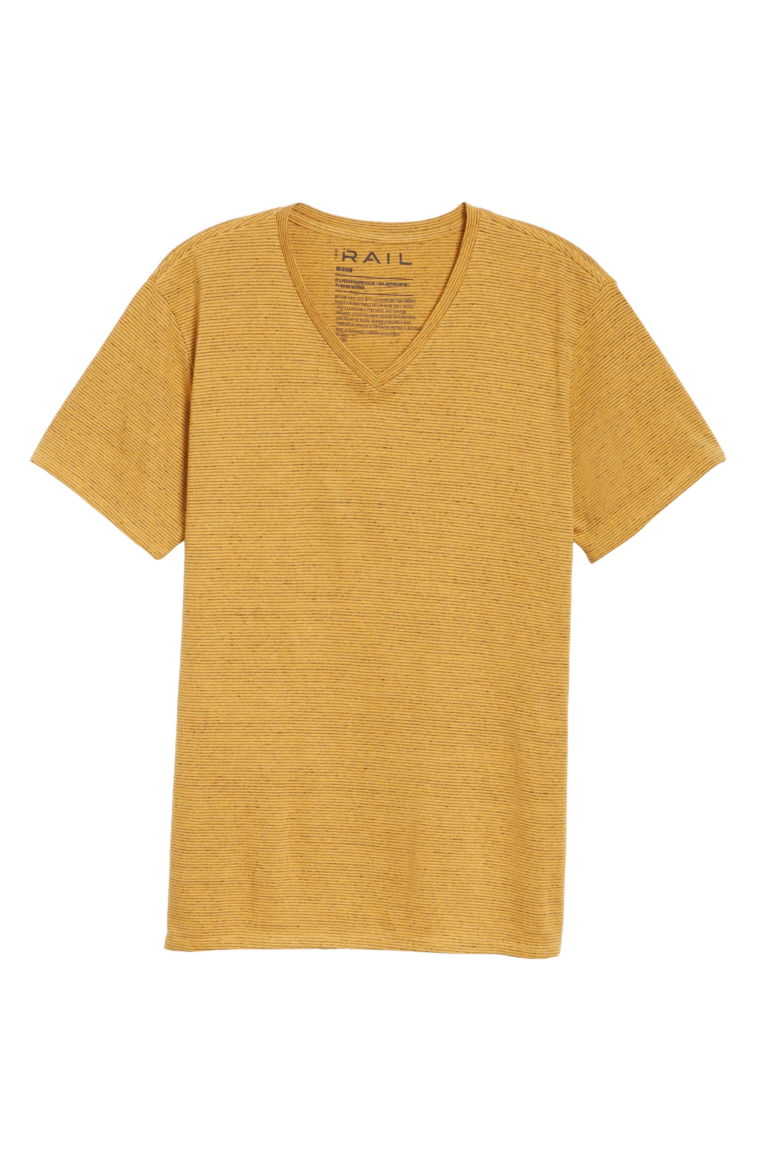 Fine Stripe V-Neck T-Shirt,                             Alternate thumbnail 6, color,                             Orange Lantana Heather Stripe