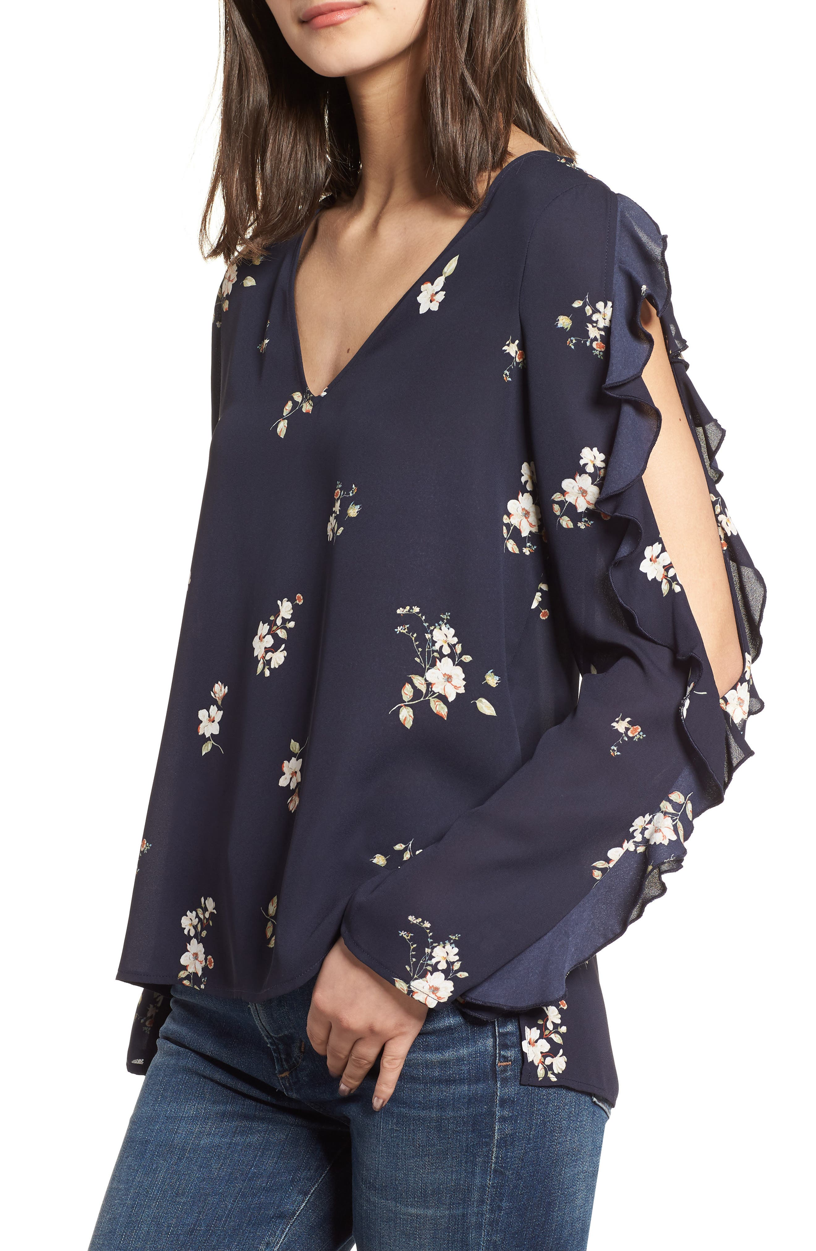 Ruffle Cold Shoulder Top,                         Main,                         color, Night Navy
