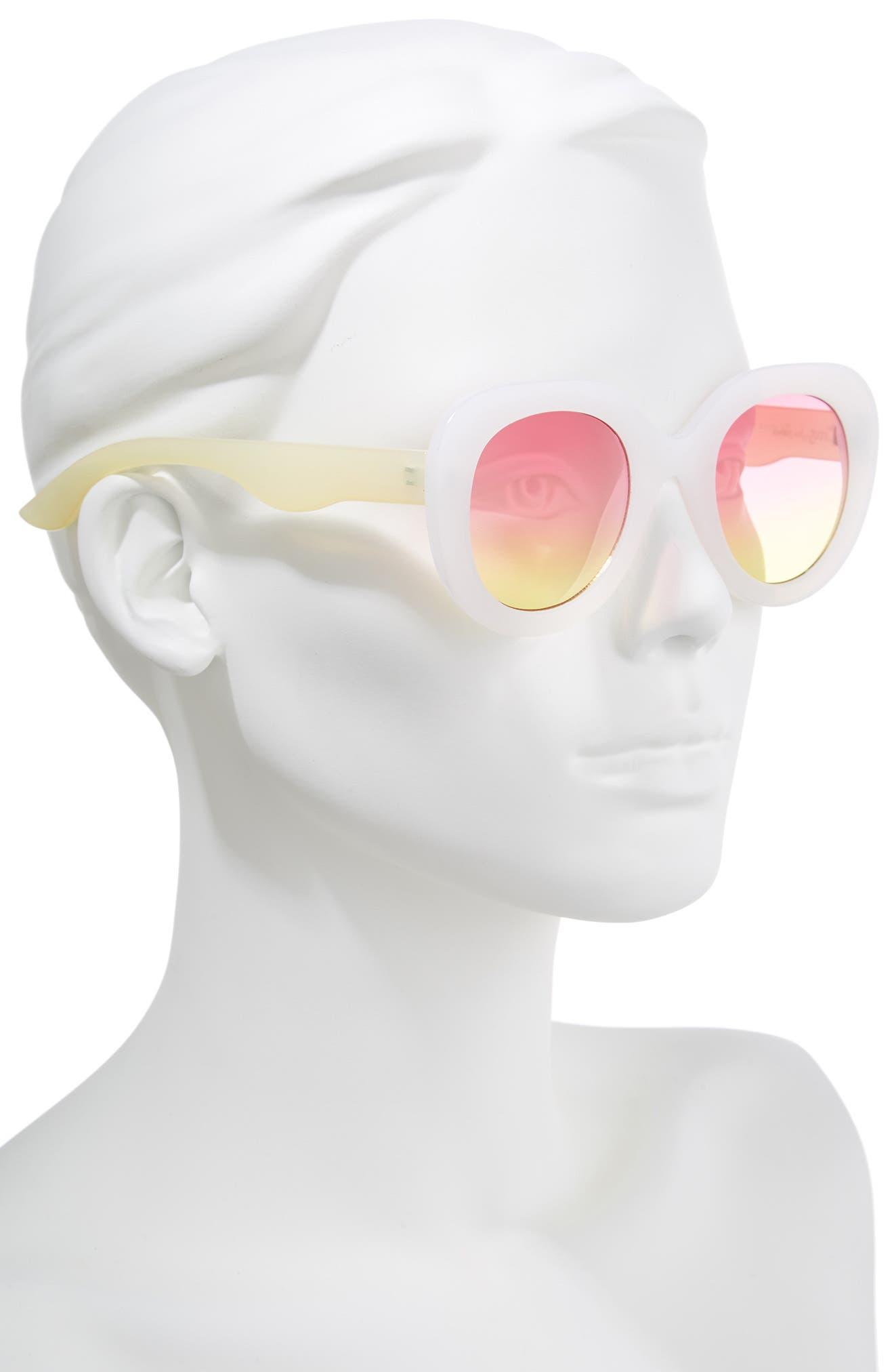 45mm Round Sunglasses,                             Alternate thumbnail 2, color,                             White/ Yellow