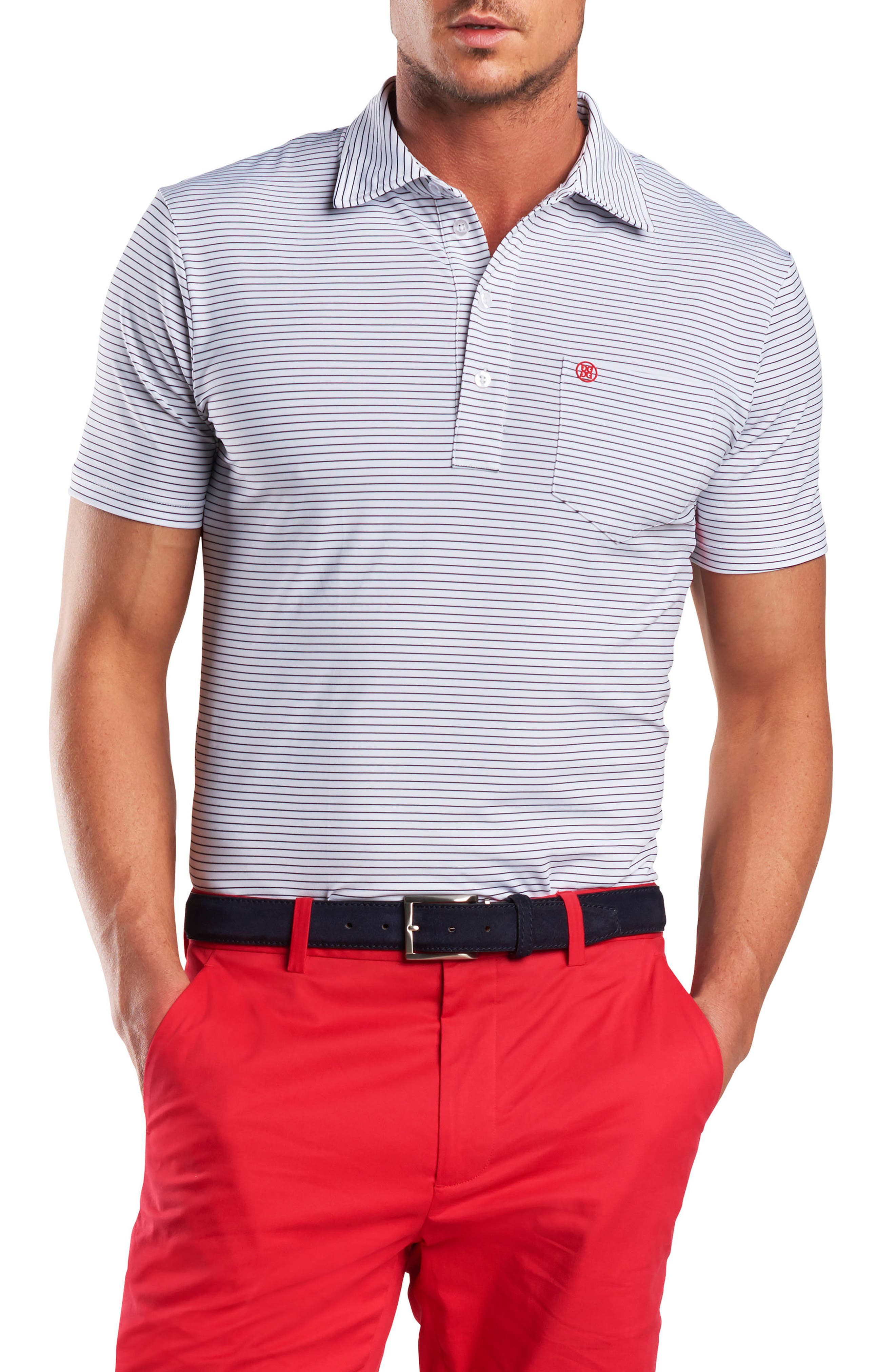 Stripe Regular Fit Polo,                             Main thumbnail 1, color,                             Snow