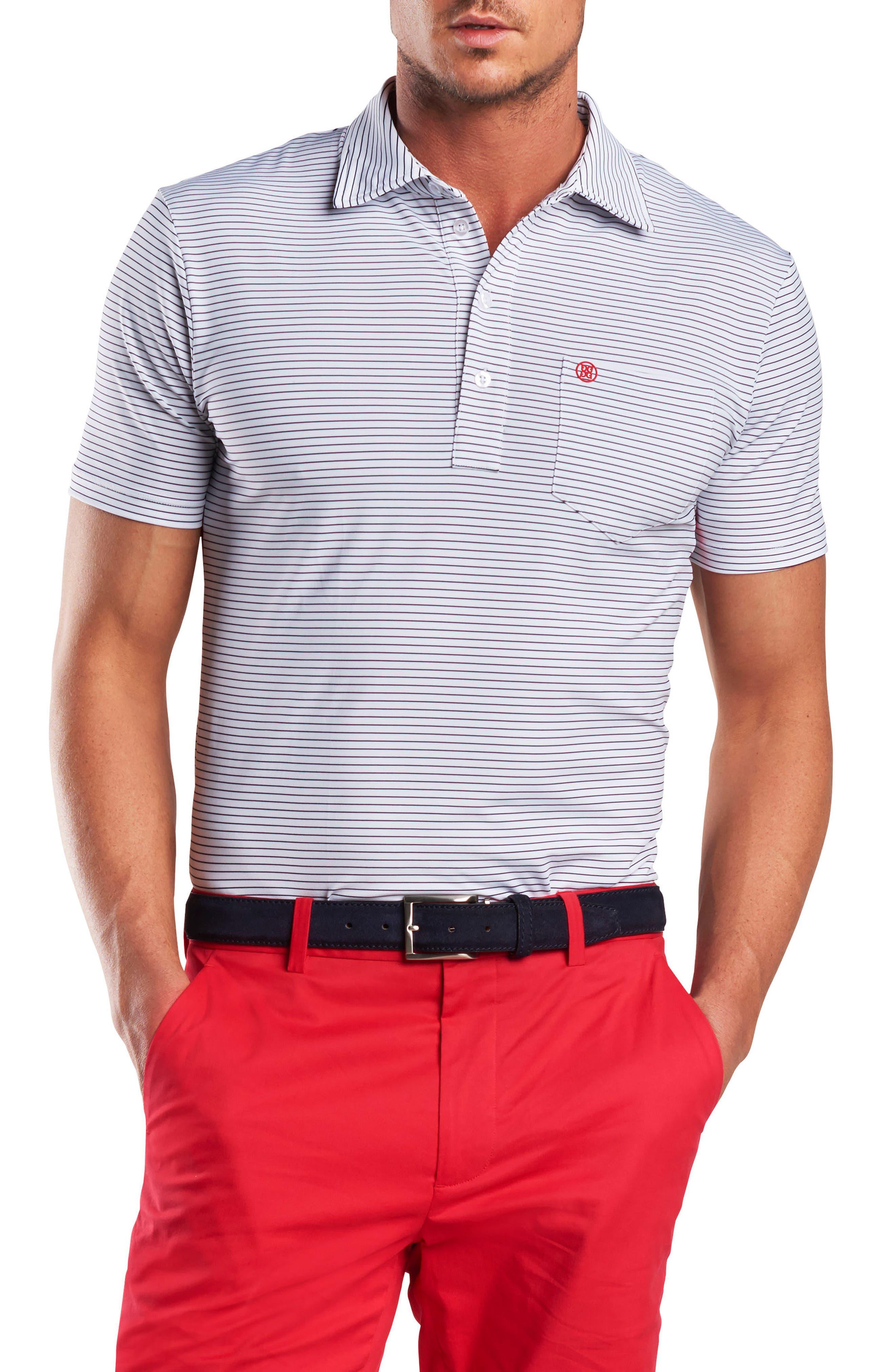 Stripe Regular Fit Polo,                         Main,                         color, Snow