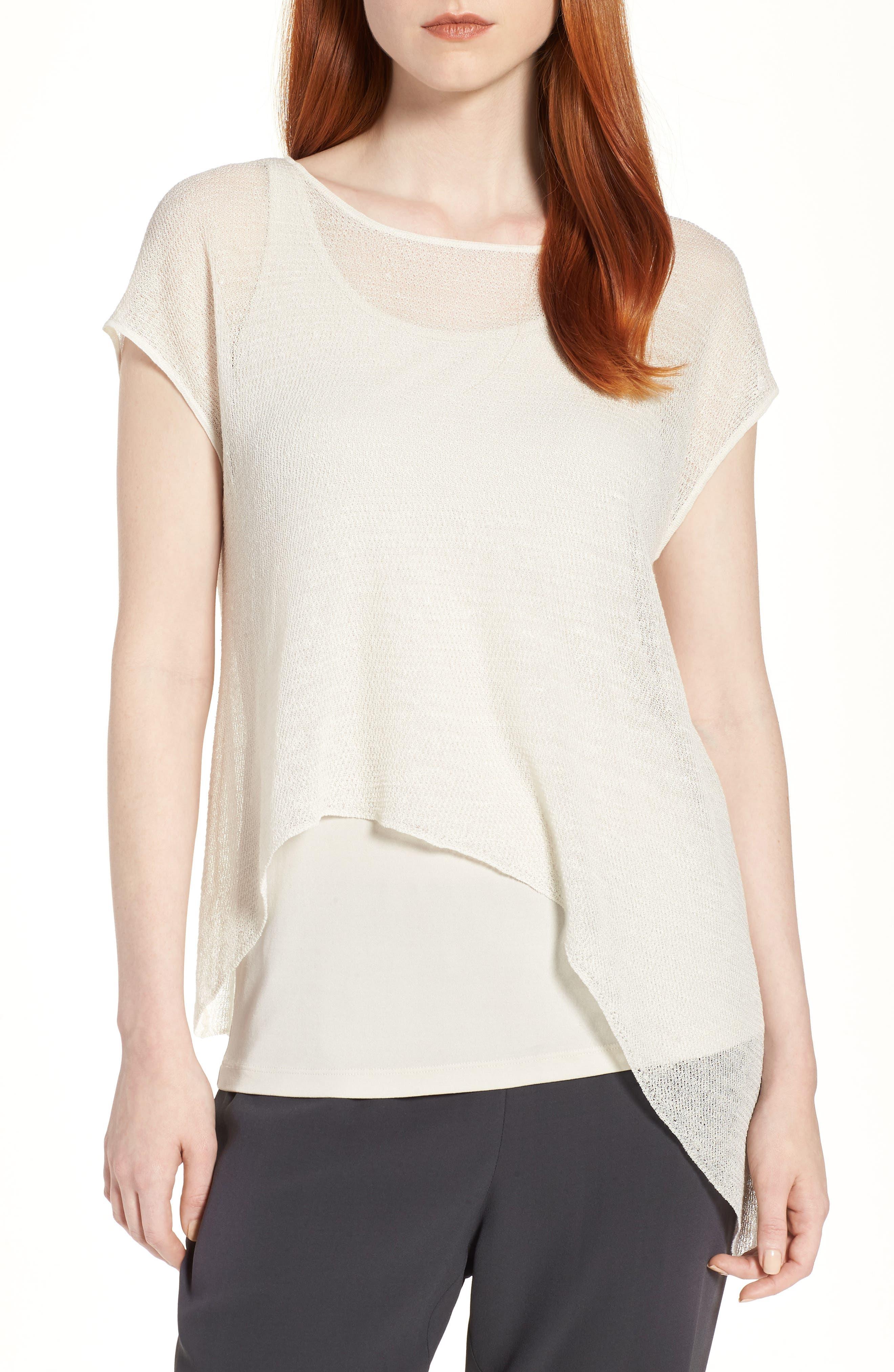 Sheer Asymmetrical Cap Sleeve Sweater,                         Main,                         color, Bone