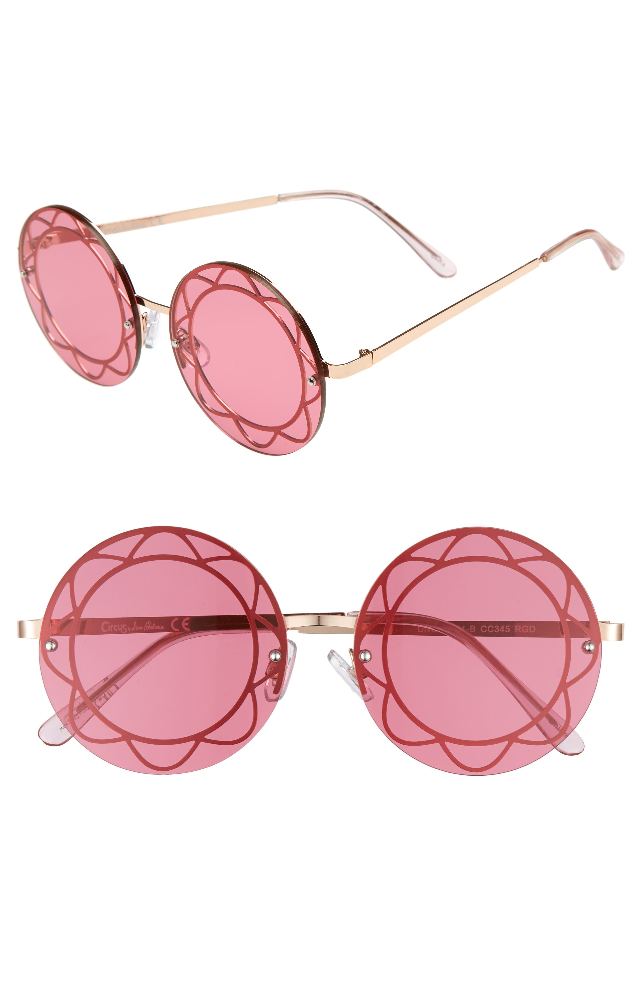 55mm Round Sunglasses,                             Main thumbnail 1, color,                             Rose Gold/ Red Lens
