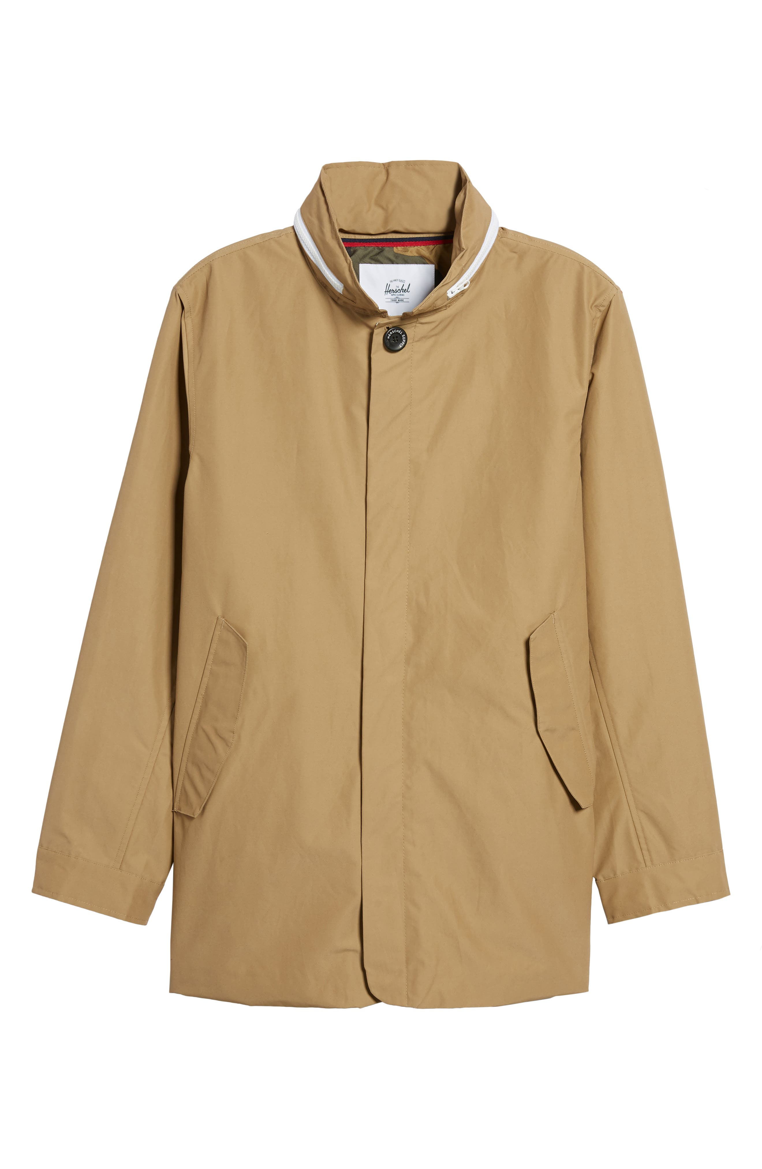 Stowaway Mac Jacket,                             Alternate thumbnail 6, color,                             Khaki/ Woodland Camo