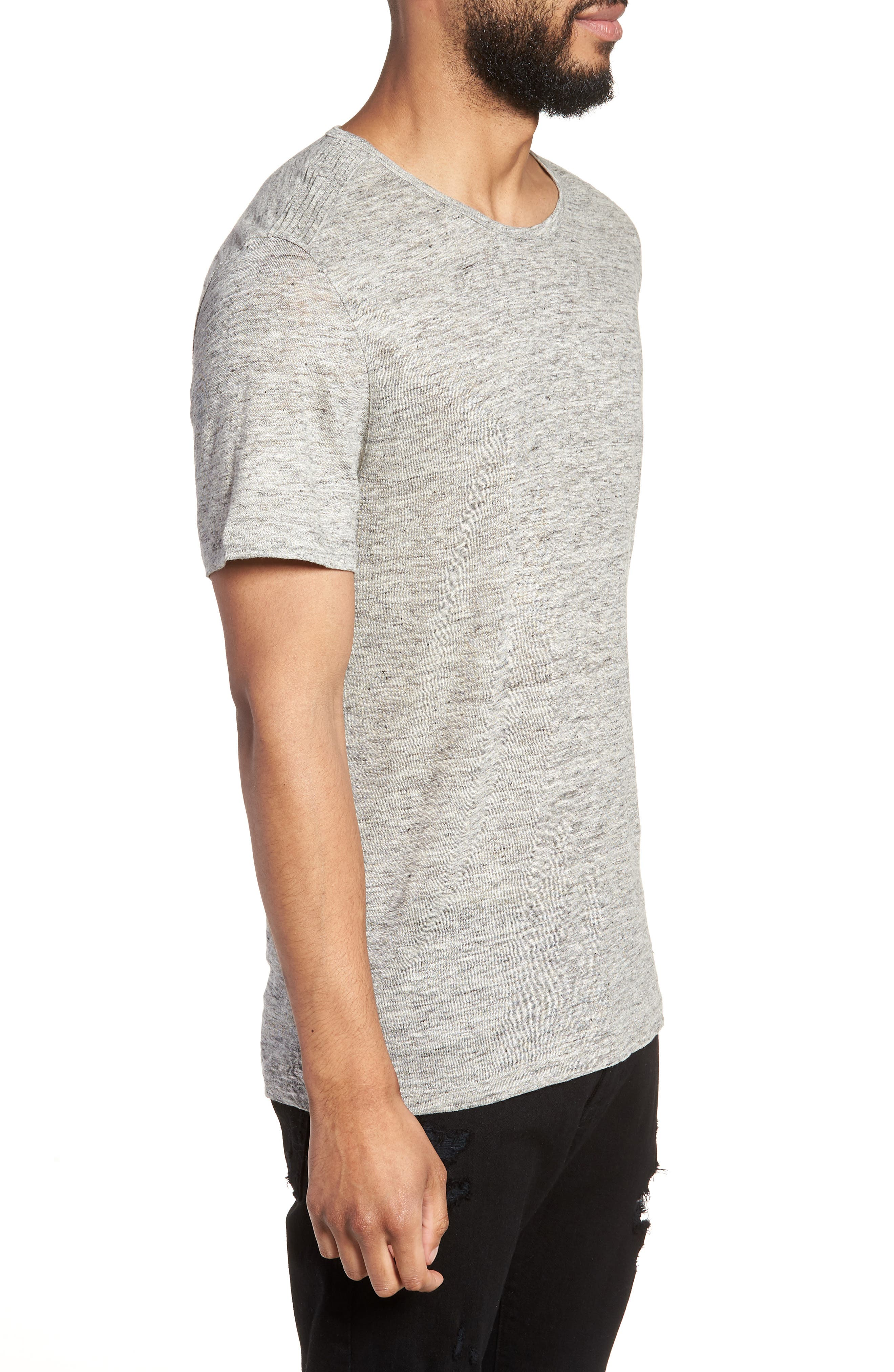 John Varvatos x Nick Jonas Linen T-Shirt,                             Alternate thumbnail 5, color,                             Light Grey Heather