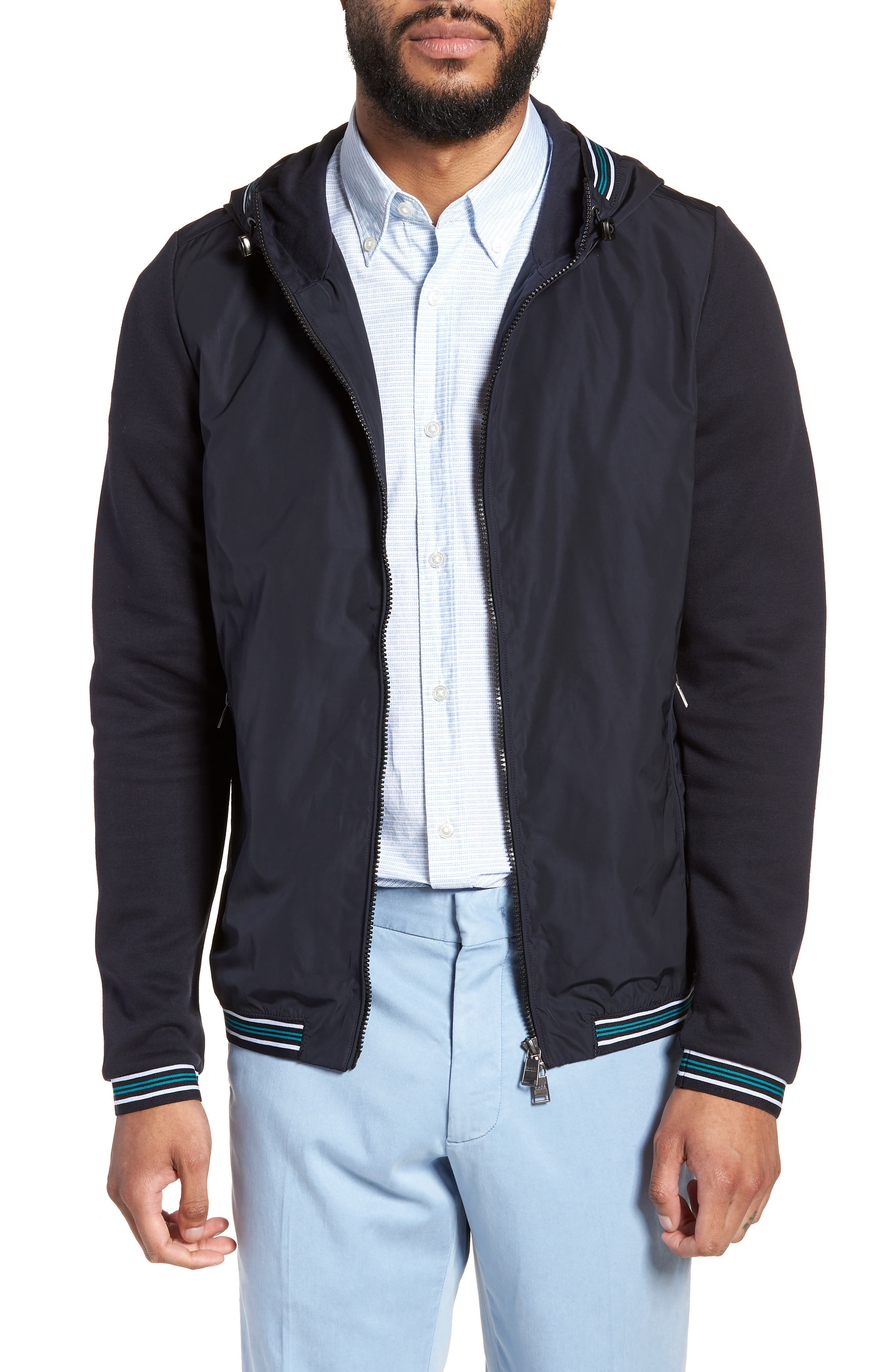 Sibly Slim Fit Jersey Hooded Jacket,                             Main thumbnail 1, color,                             Blue