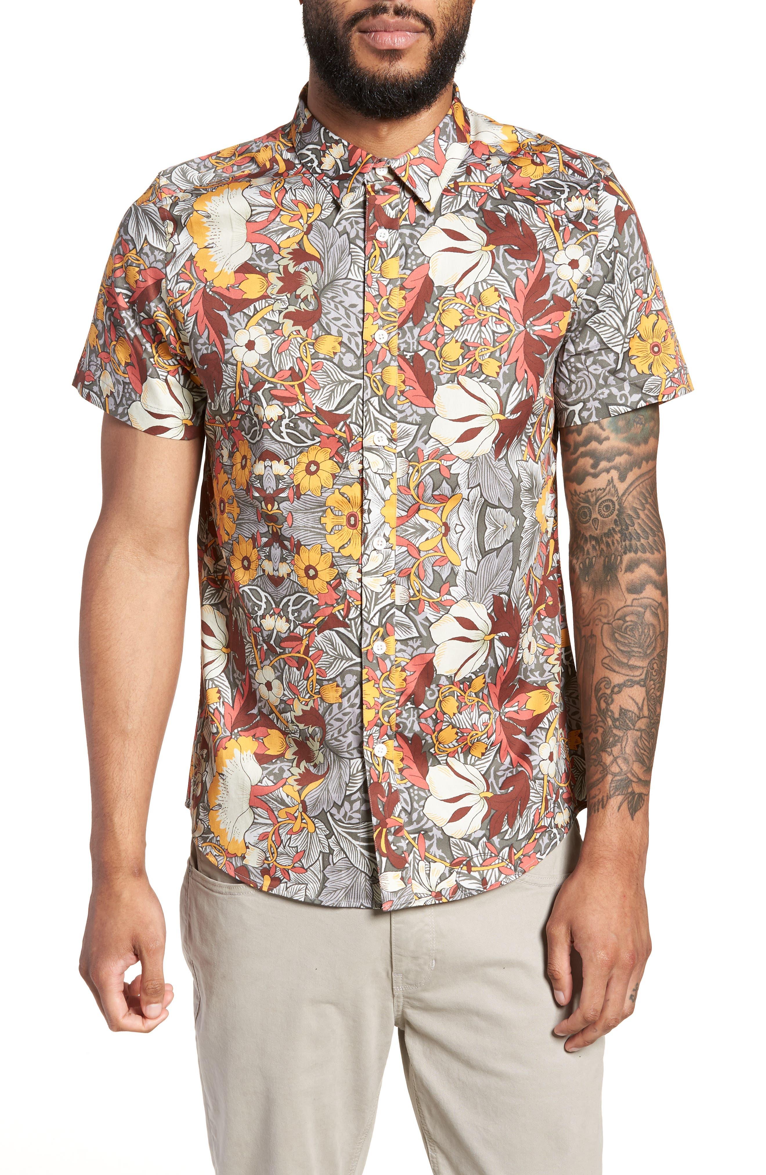 Trim Fit Woven Short Sleeve Shirt,                             Main thumbnail 1, color,                             Grey