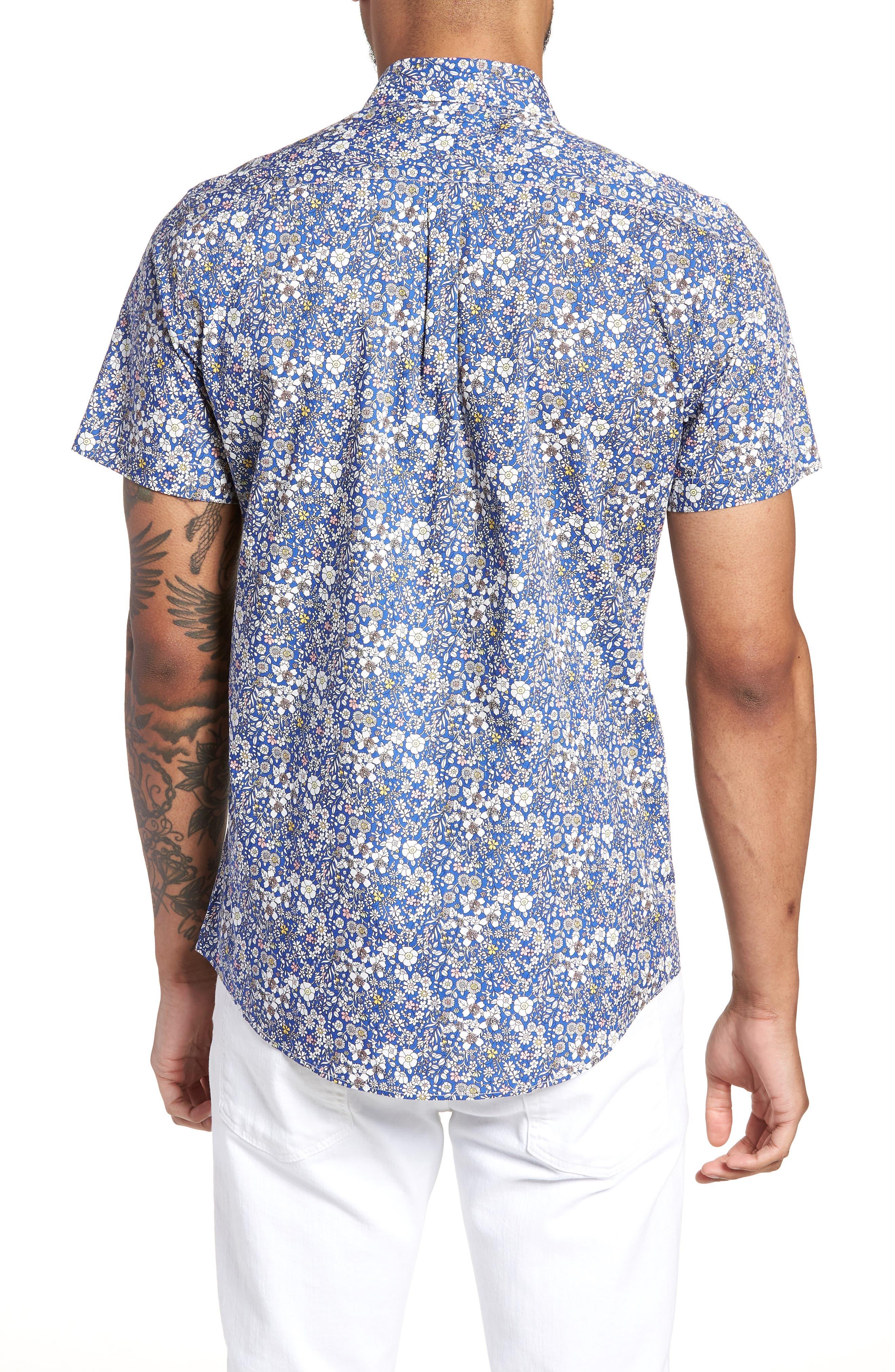 Trim Fit Print Woven Short Sleeve Shirt,                             Alternate thumbnail 2, color,                             Blue Pink Floral