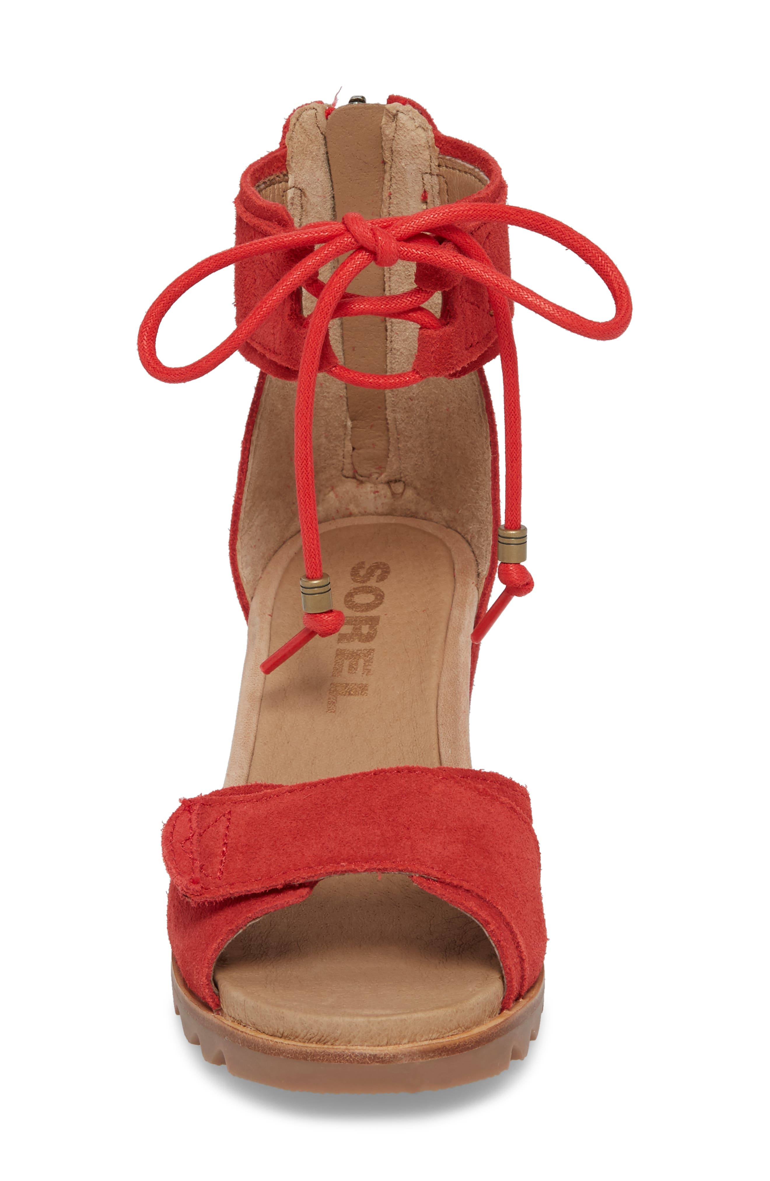 Joanie Cuff Wedge Sandal,                             Alternate thumbnail 4, color,                             Bright Red