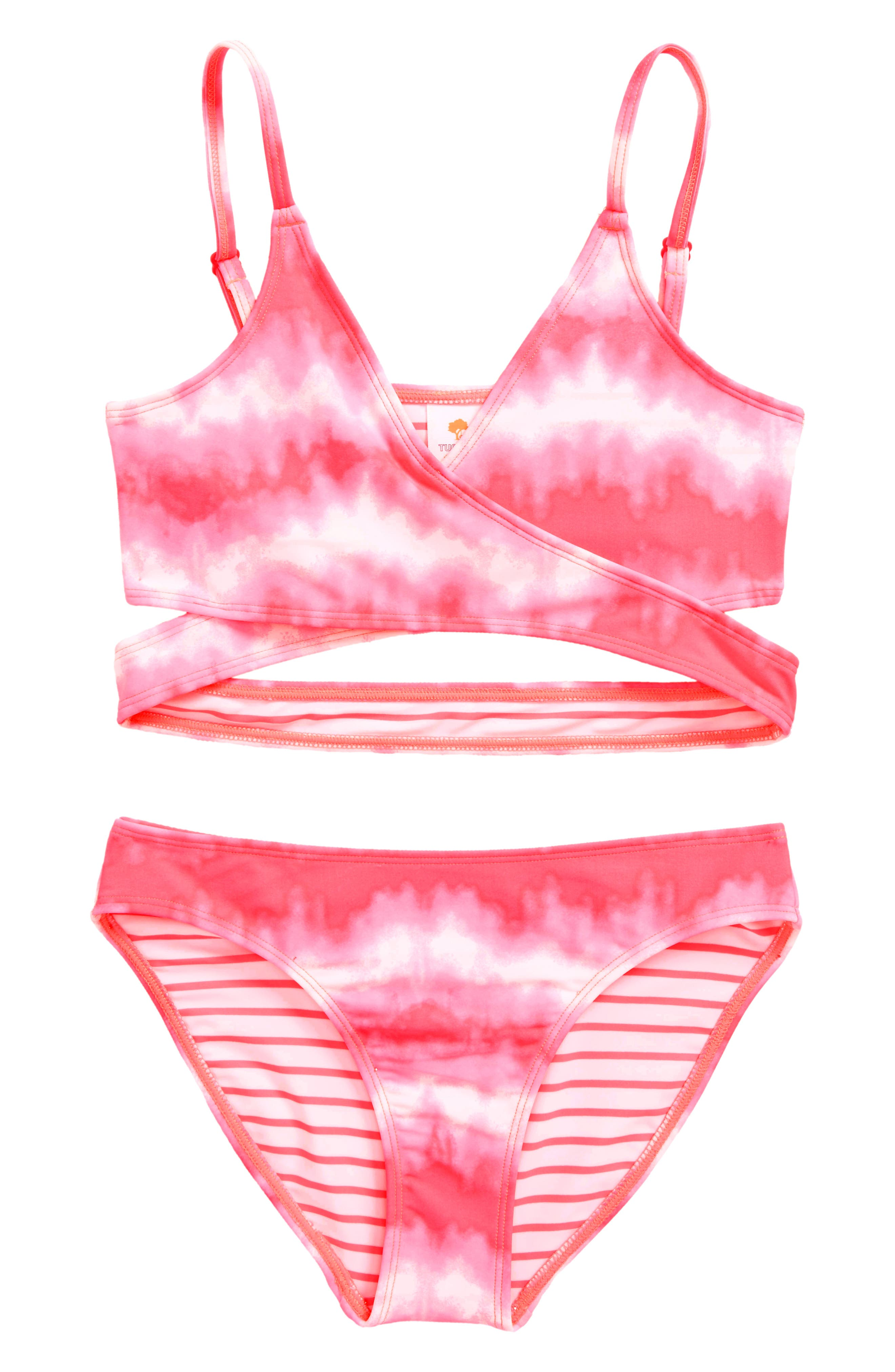 Two-Piece Swimsuit,                             Main thumbnail 1, color,                             Pink Knockout Stripey Tie Dye