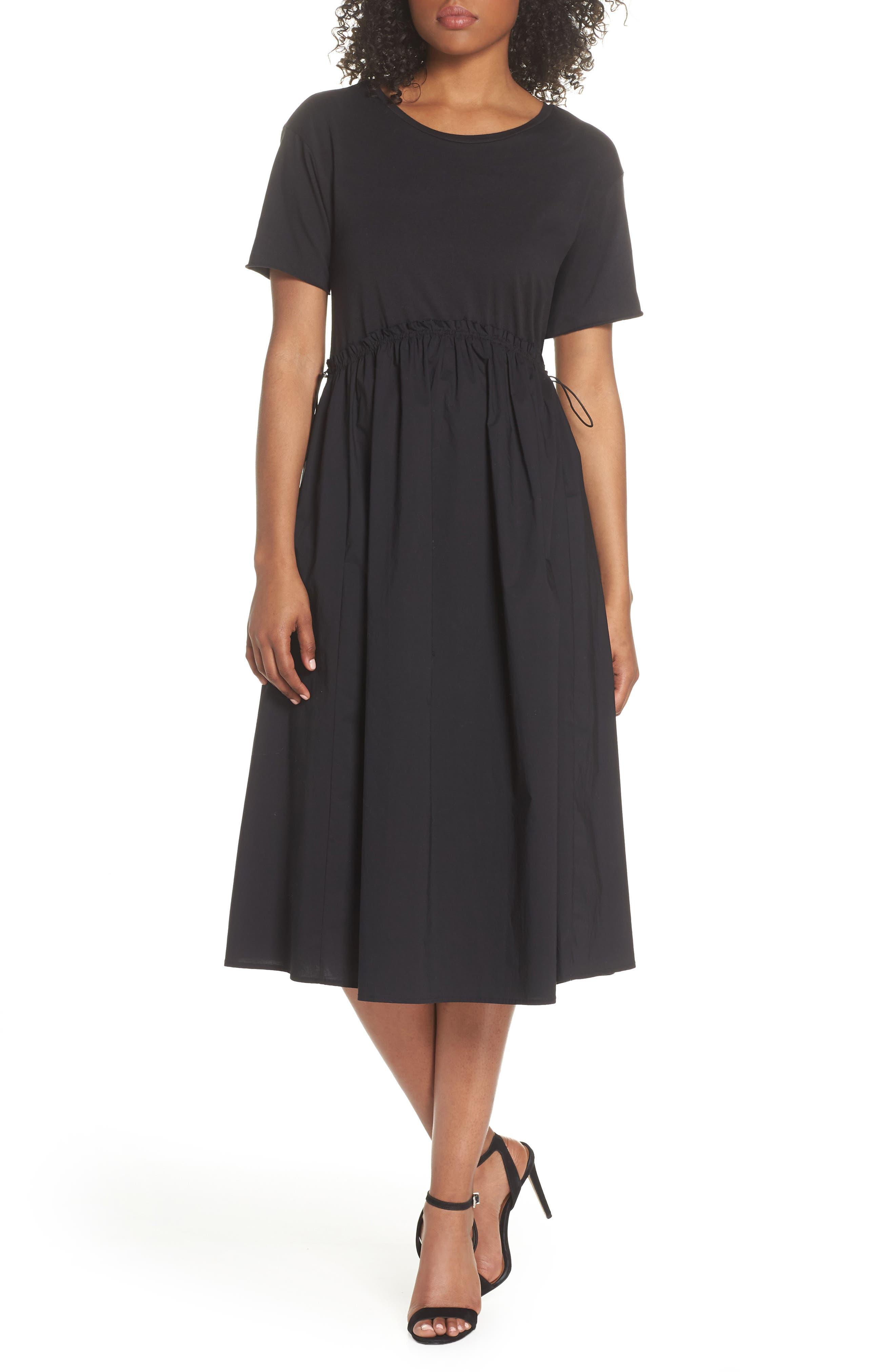 Tie Back Midi Dress,                             Main thumbnail 1, color,                             Black
