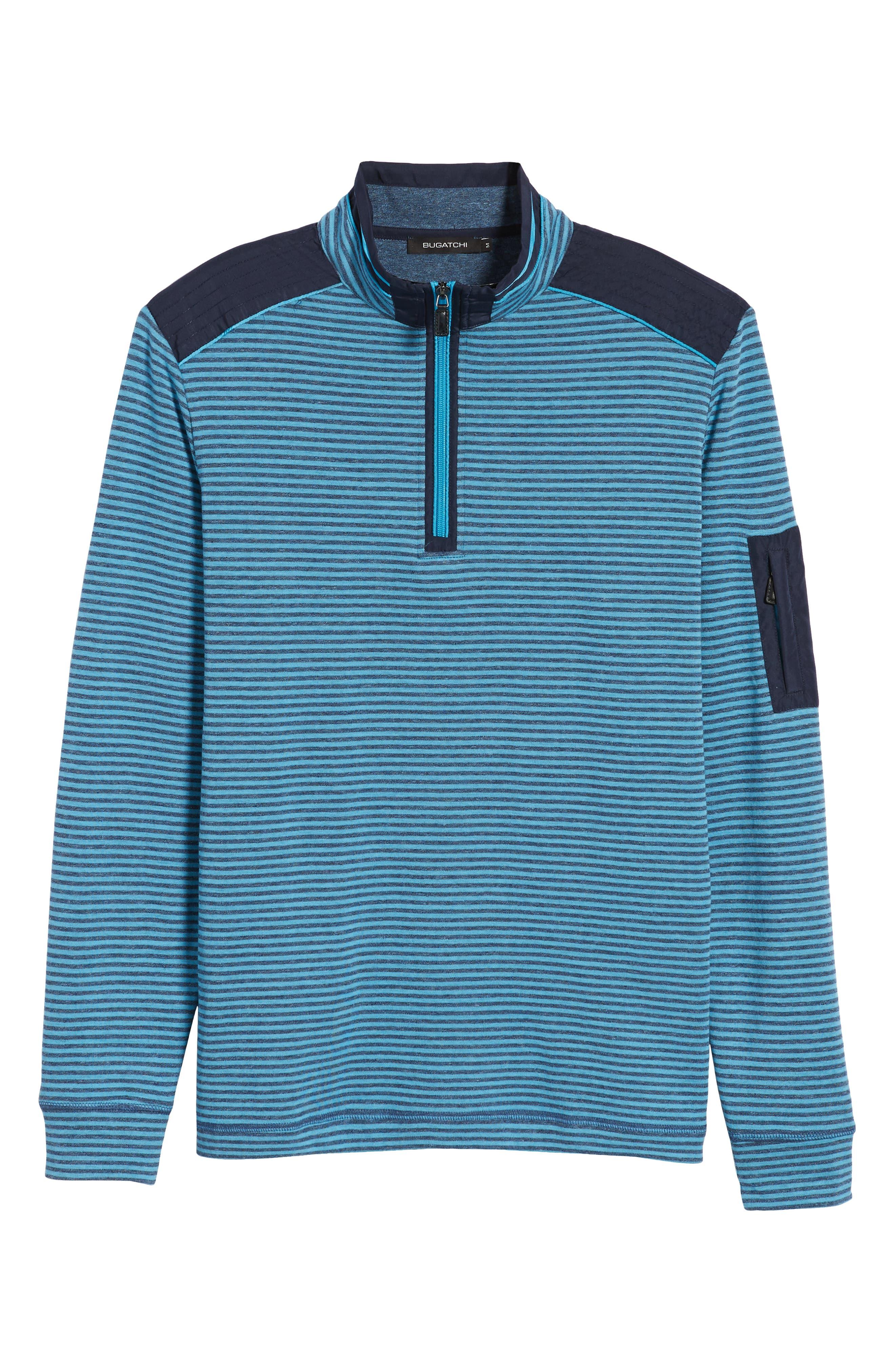 Regular Fit Stripe Quarter Zip Pullover,                             Alternate thumbnail 6, color,                             Sky