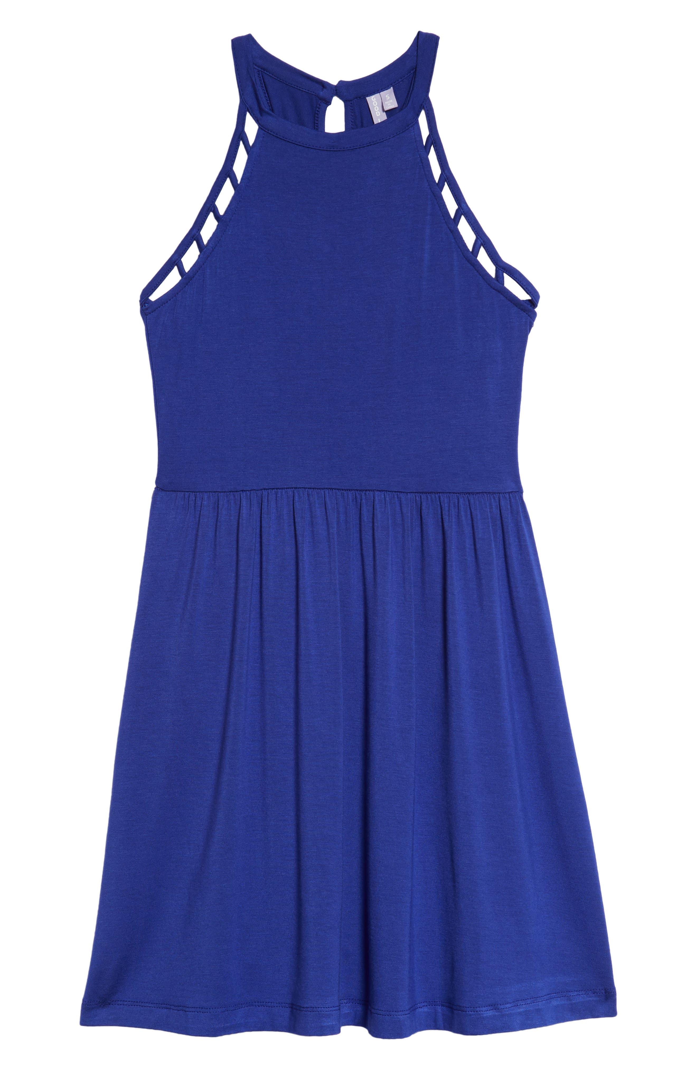 Good Luck Gem Knit Halter Cage Skater Dress,                         Main,                         color, Royal