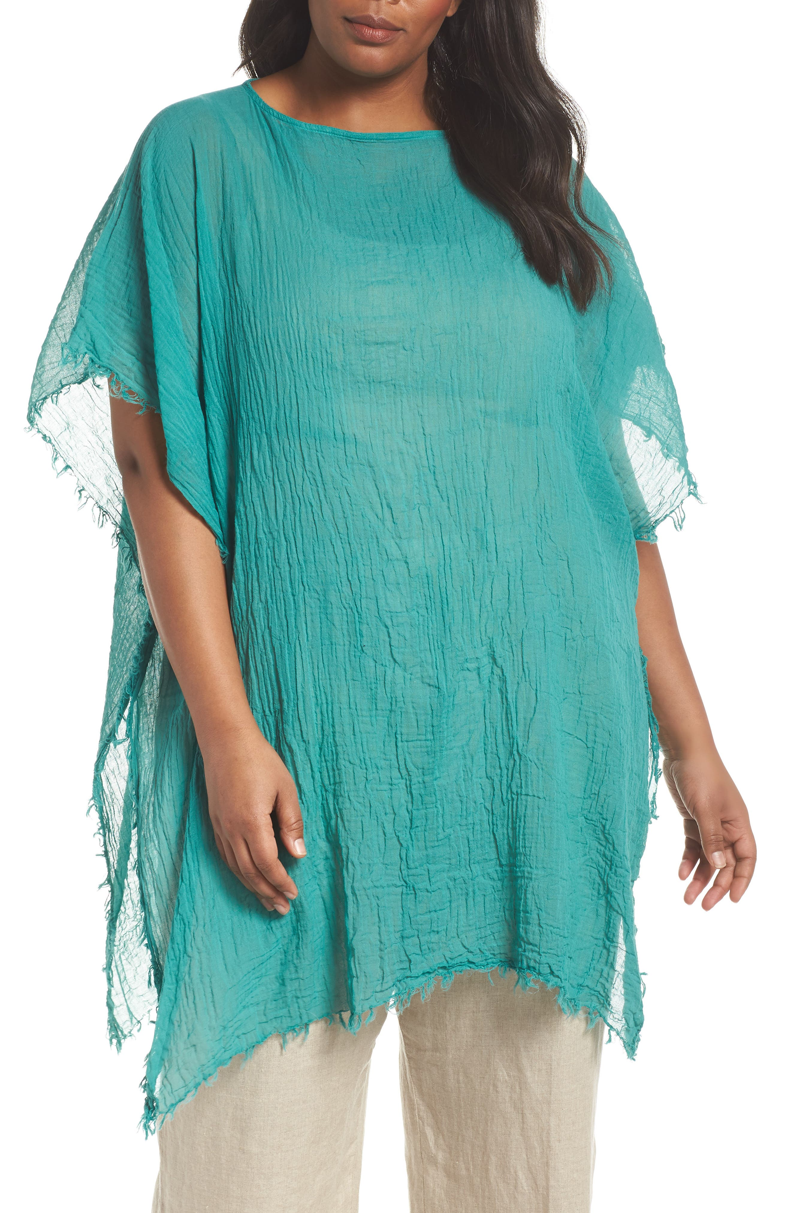 Organic Cotton Poncho,                             Main thumbnail 1, color,                             Turquoise