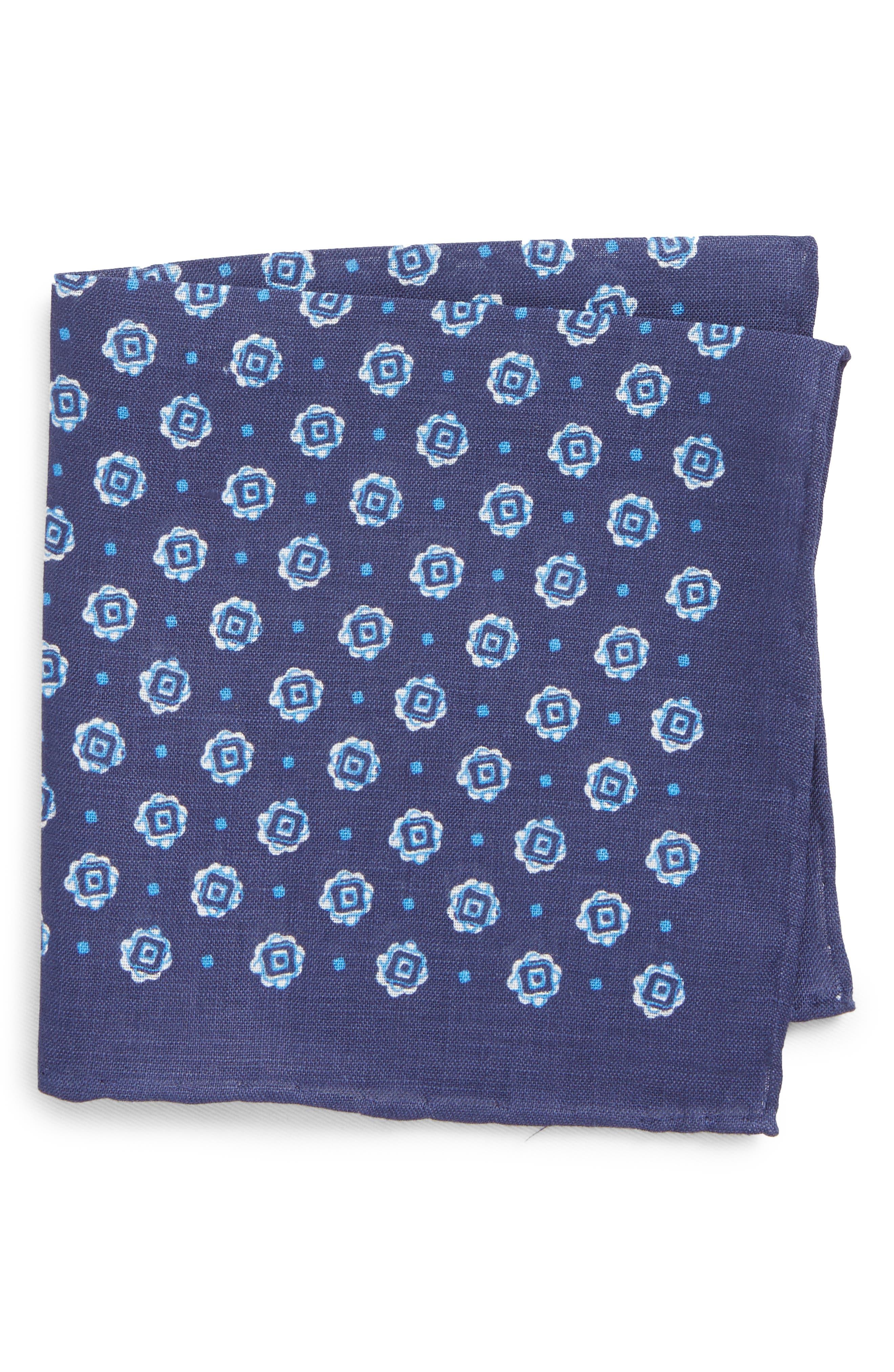 Medallion Linen Pocket Square,                         Main,                         color, Dark Blue