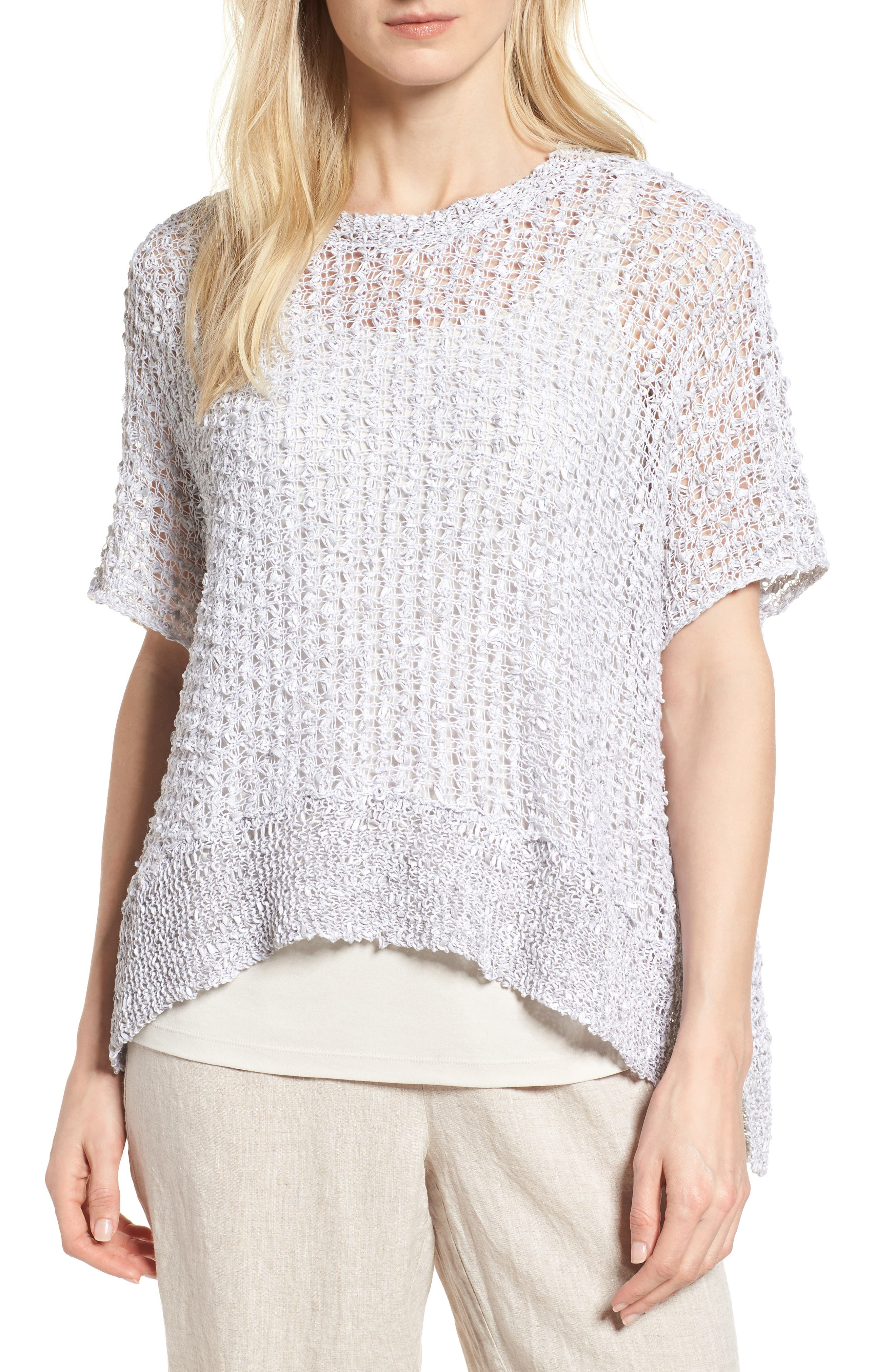 Organic Cotton & Linen Crochet Top,                         Main,                         color, Dark Pearl