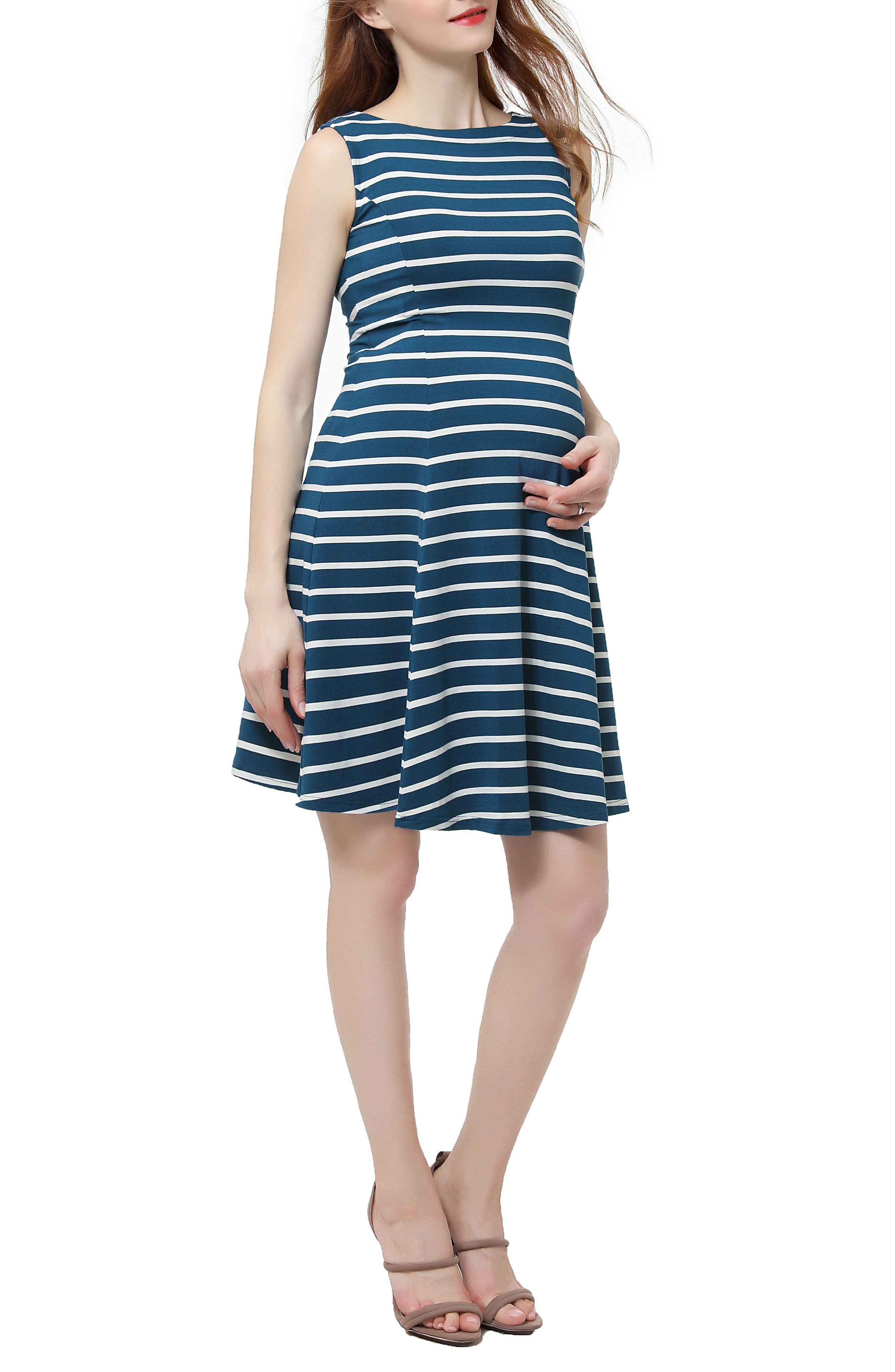 Emilia Stripe Fit & Flare Maternity Dress,                         Main,                         color, Teal/ Ivory