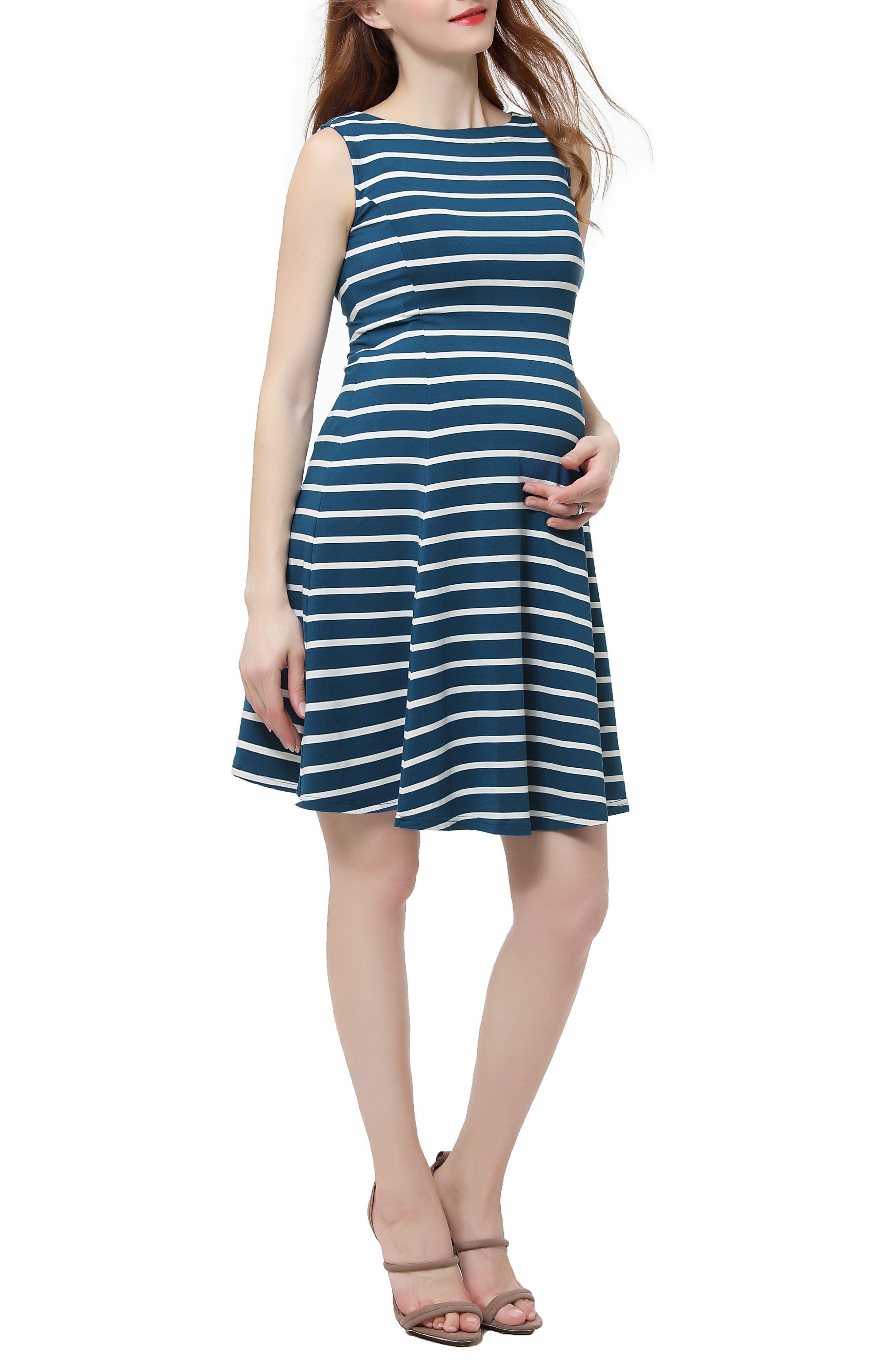 Emilia Stripe Fit & Flare Maternity Dress,                         Main,                         color, Teal/ Ivory