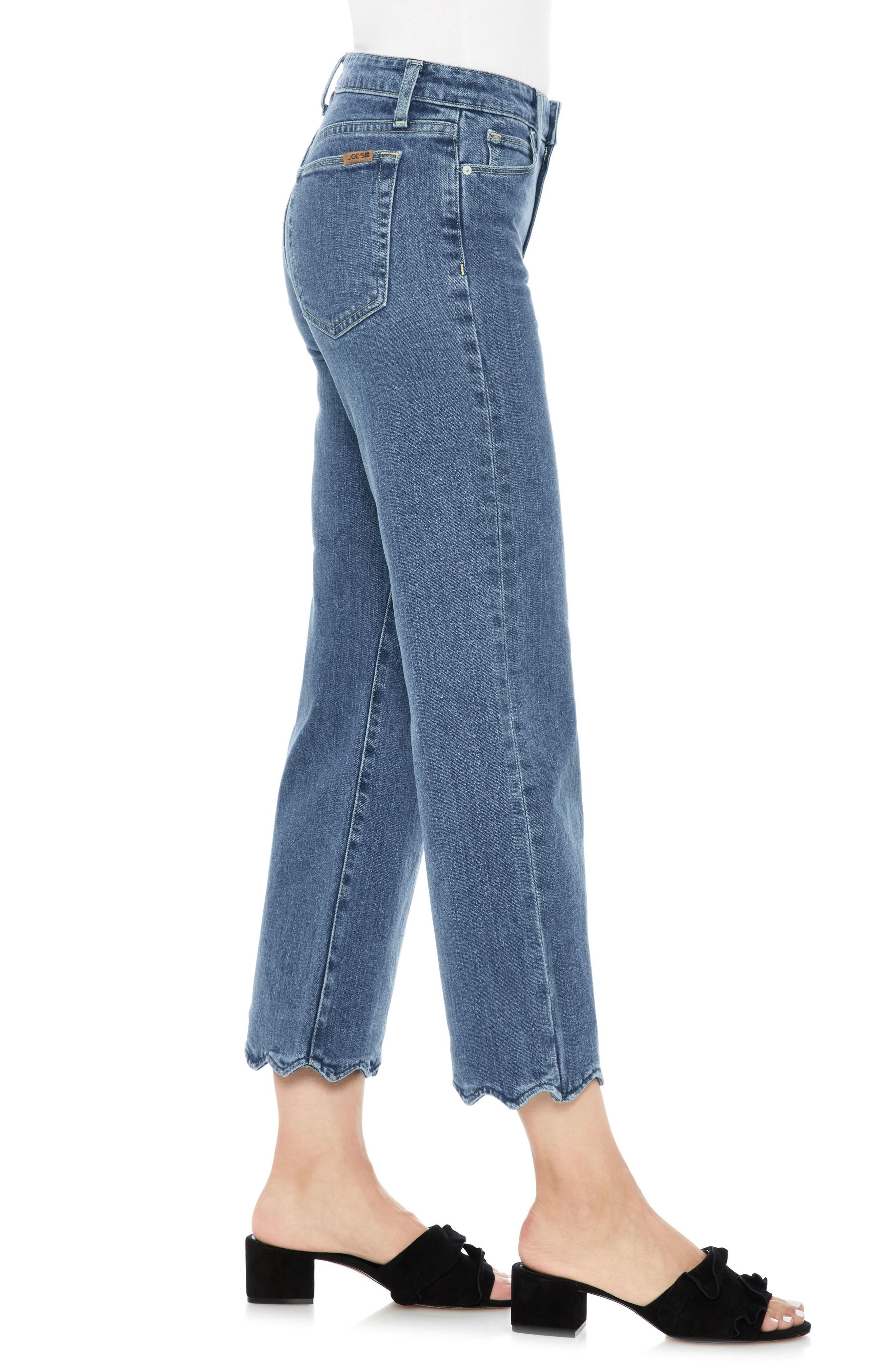 Fashion Flare Wavy Hem Crop Jeans,                             Alternate thumbnail 3, color,                             Kenzy