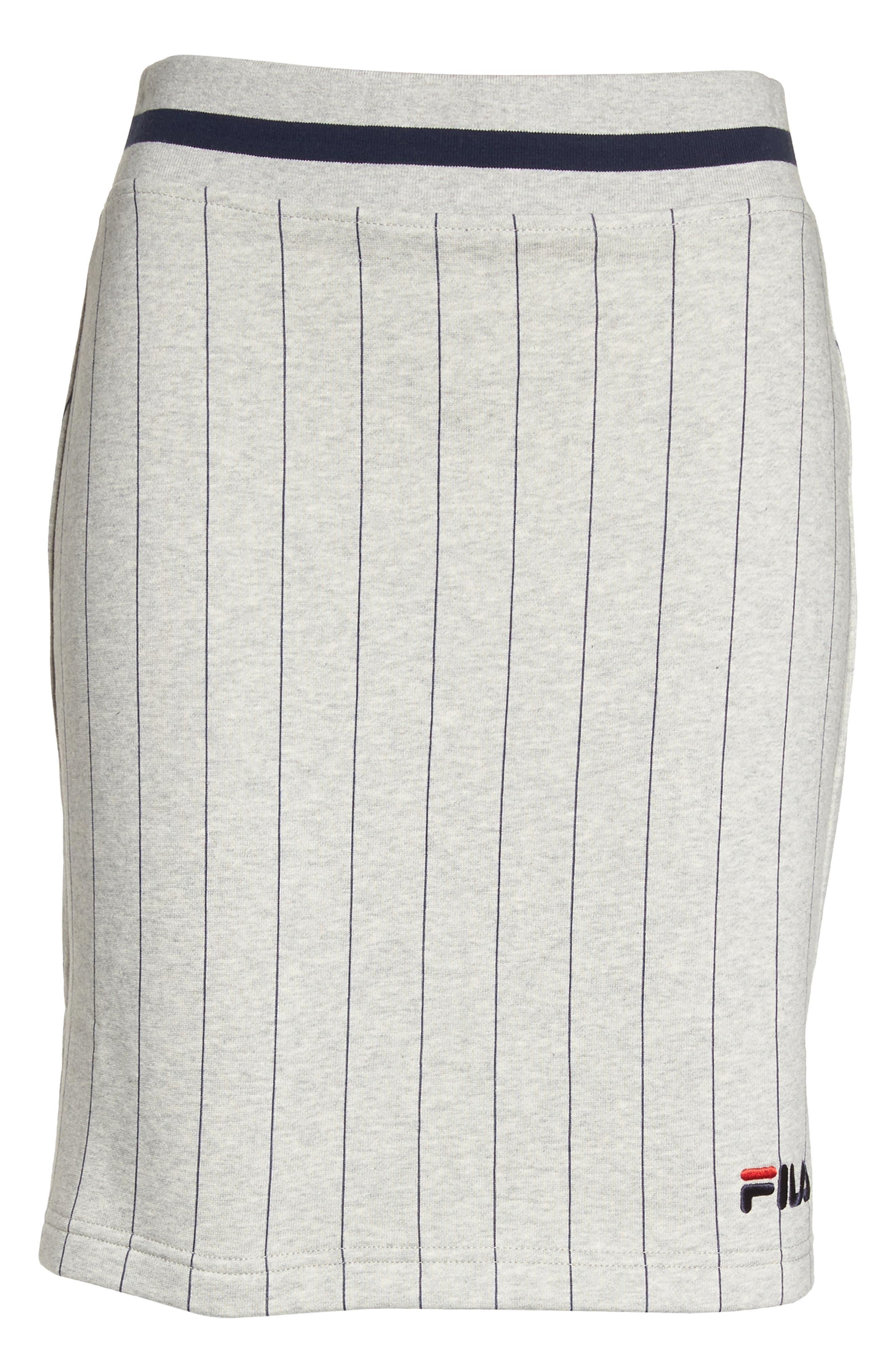 Francesca Pinstripe Skirt,                             Alternate thumbnail 8, color,                             Light Grey Marl/ Peacoat