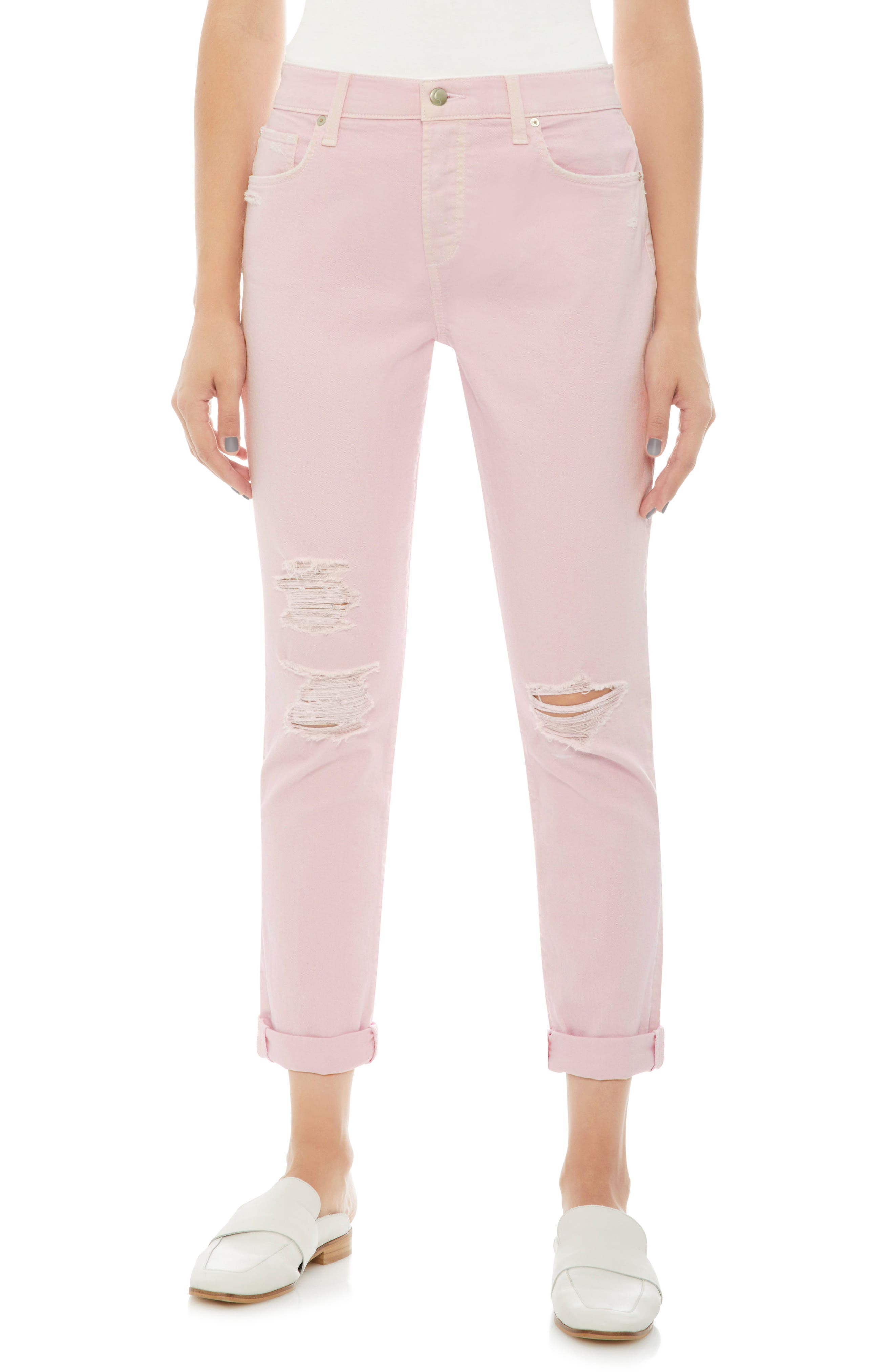 Smith Ripped High Waist Crop Slim Jeans,                         Main,                         color, Parfait Pink