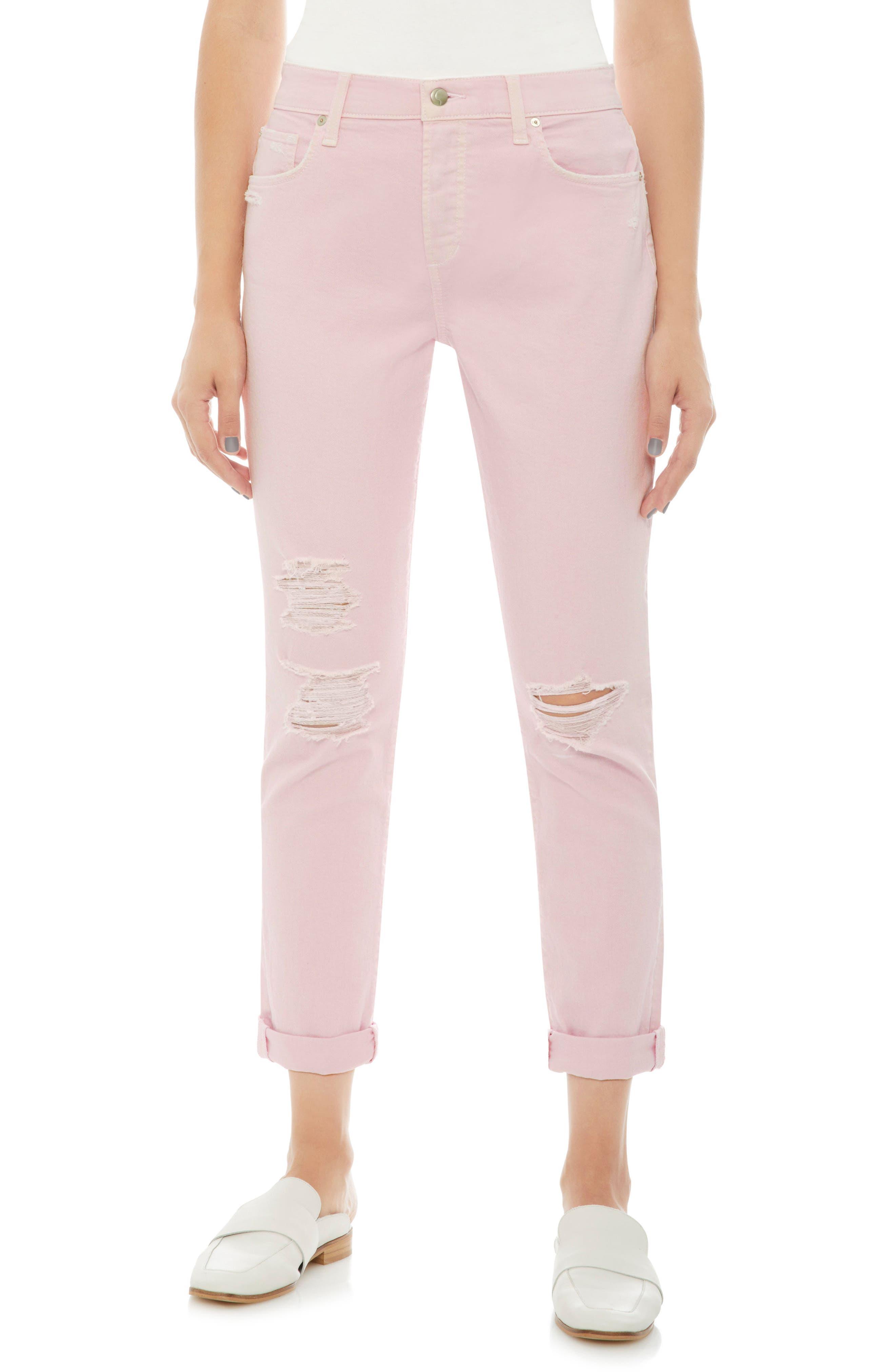 Joe's Smith Ripped High Waist Crop Slim Jeans (Parfait Pink)