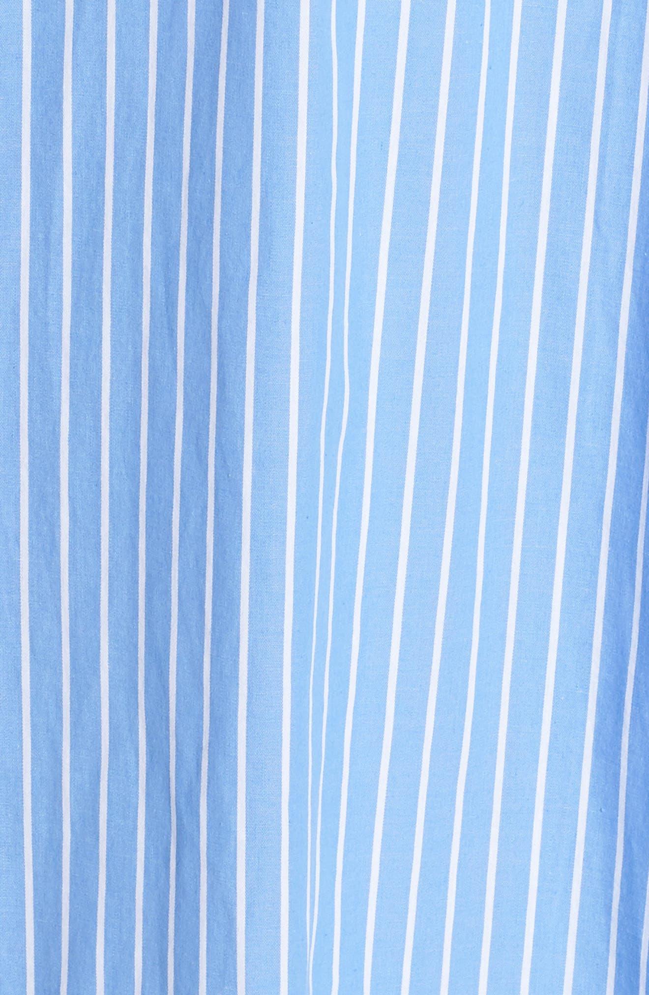 Becky Bow Front Tea Length Dress,                             Alternate thumbnail 6, color,                             Pale Blue/ White Stripe