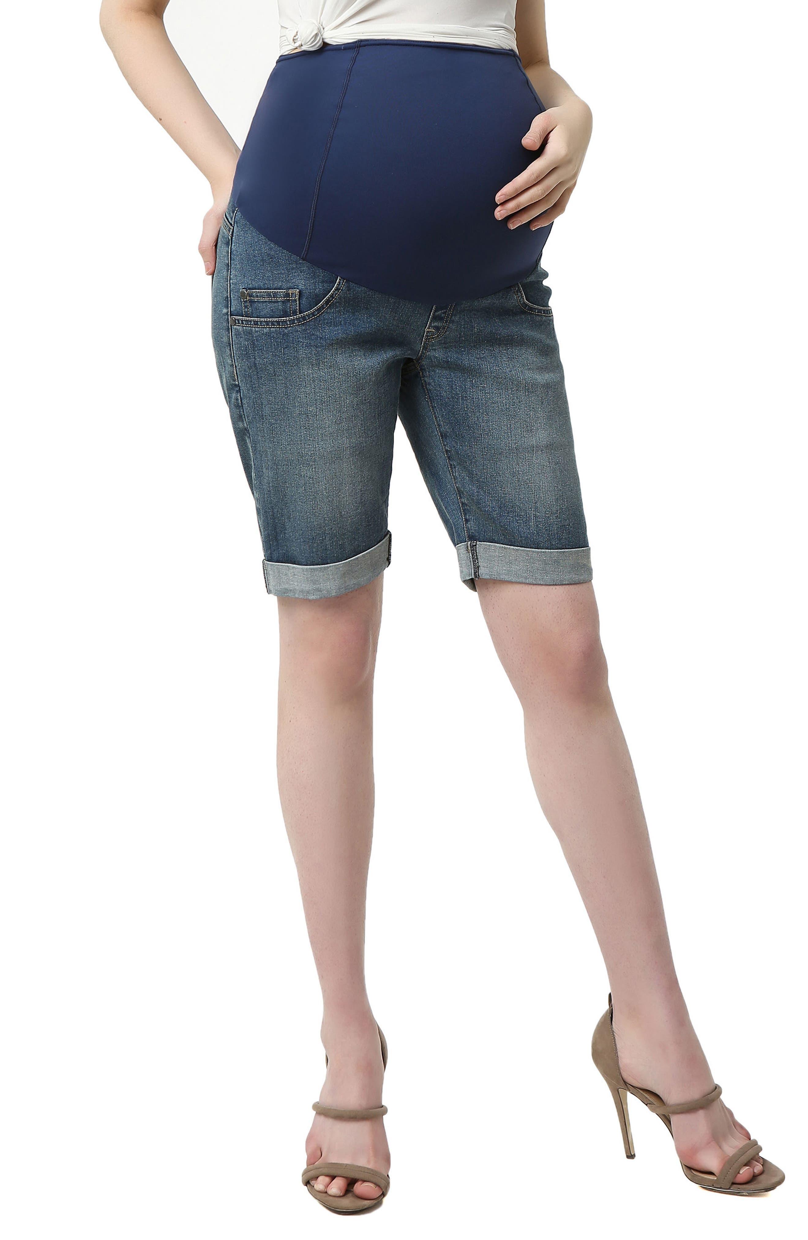 Abbie Denim Stretch Maternity Shorts,                             Alternate thumbnail 2, color,                             Medium Indigo