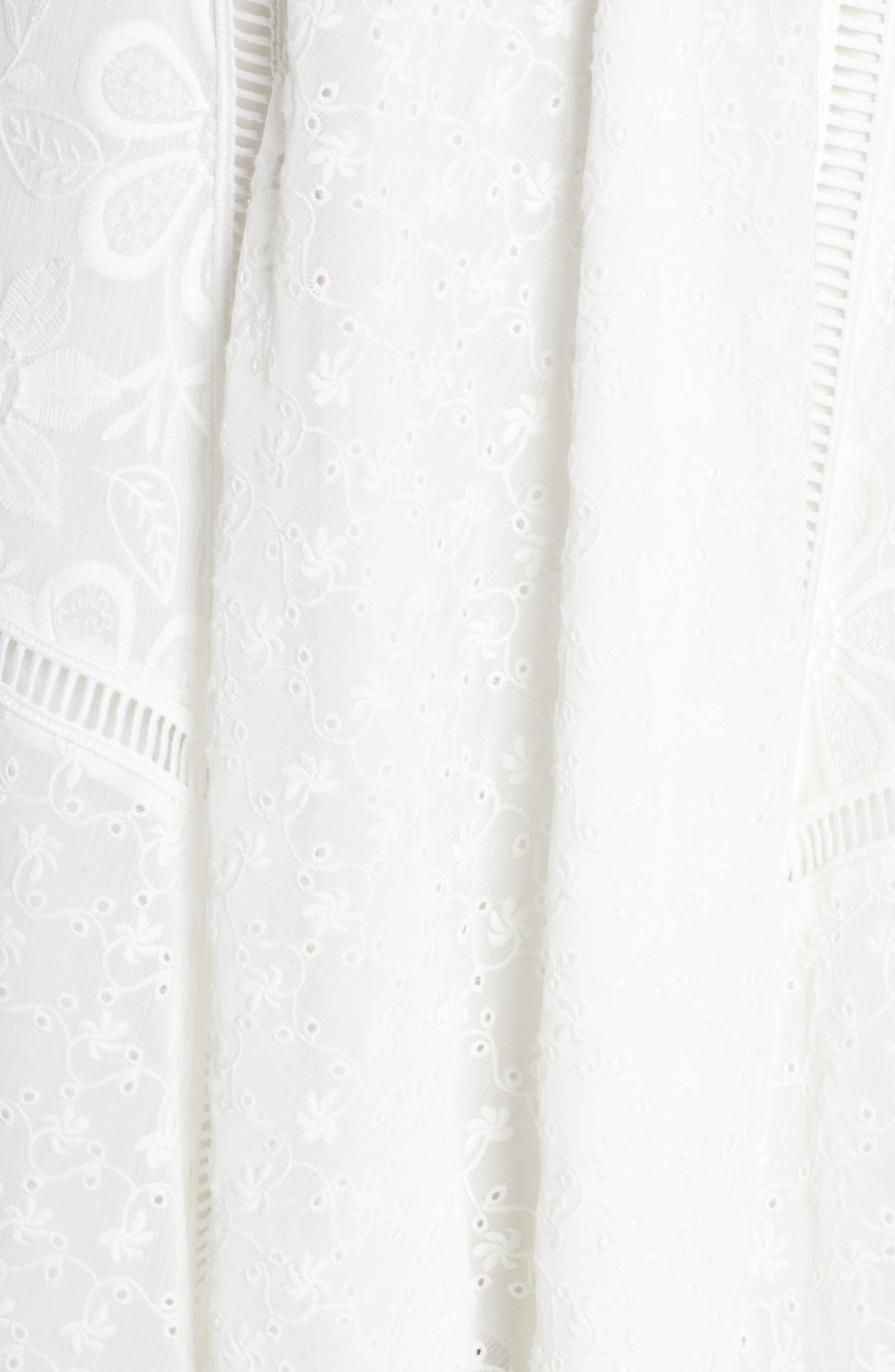 Broderie Anglaise Knot Detail Dress,                             Alternate thumbnail 6, color,                             White
