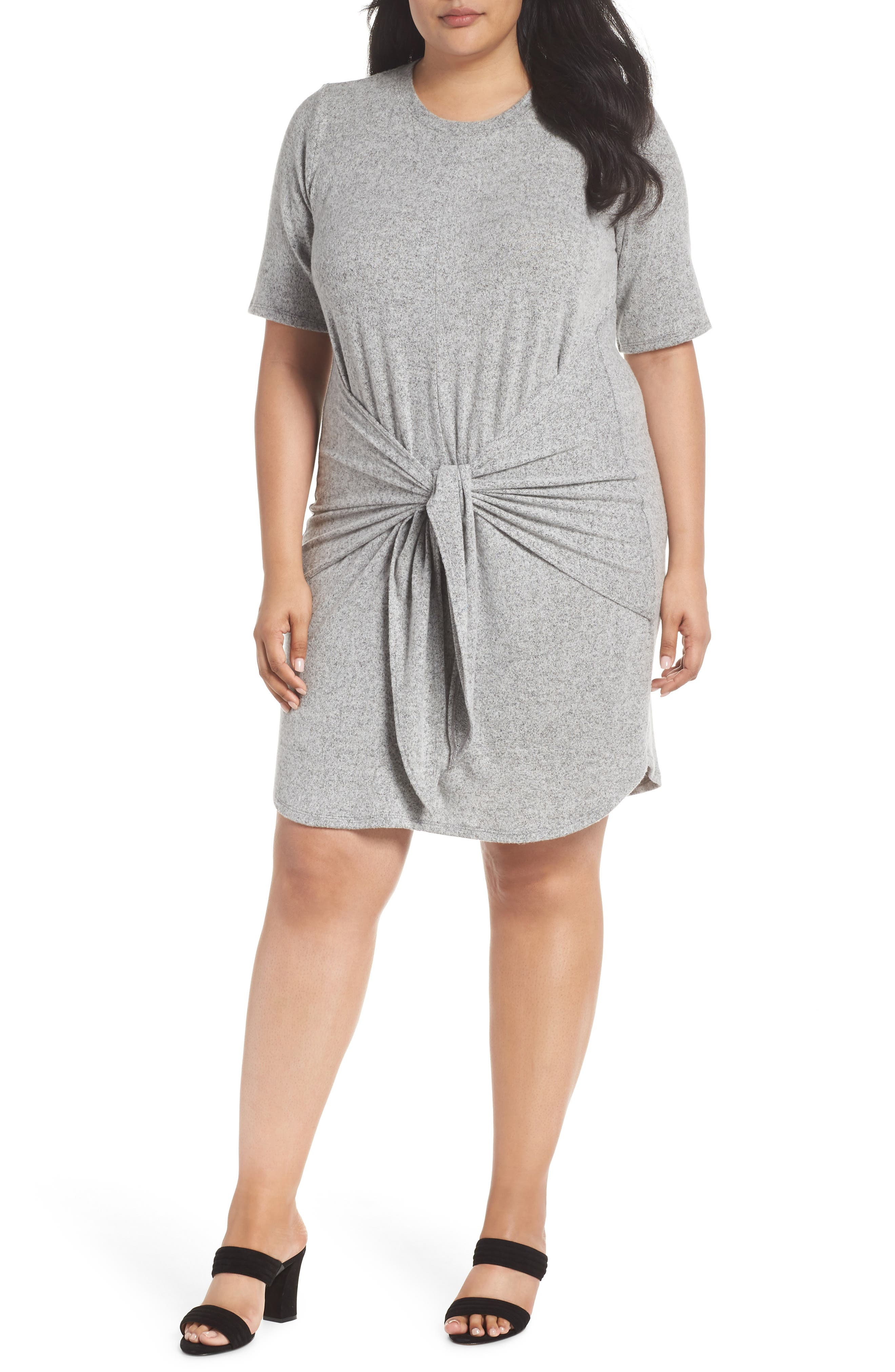 Off-Duty Tie Front Knit Dress,                             Main thumbnail 1, color,                             Grey Heather